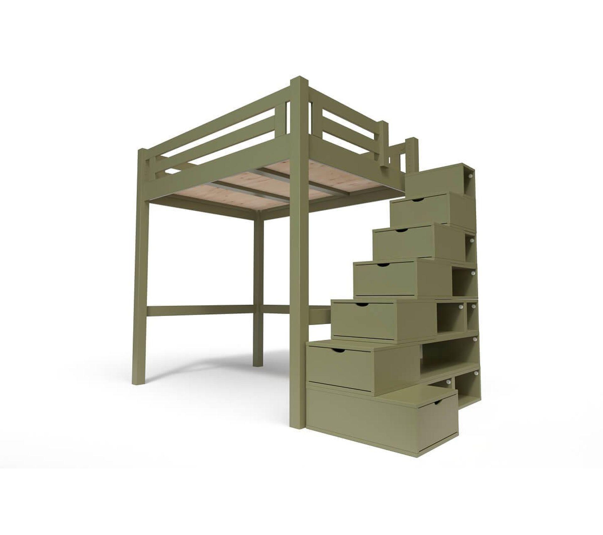 Lit Mezzanine Escalier Cube lit mezzanine alpage bois + escalier cube hauteur réglable, couleur: taupe,  dimensions: 120x200