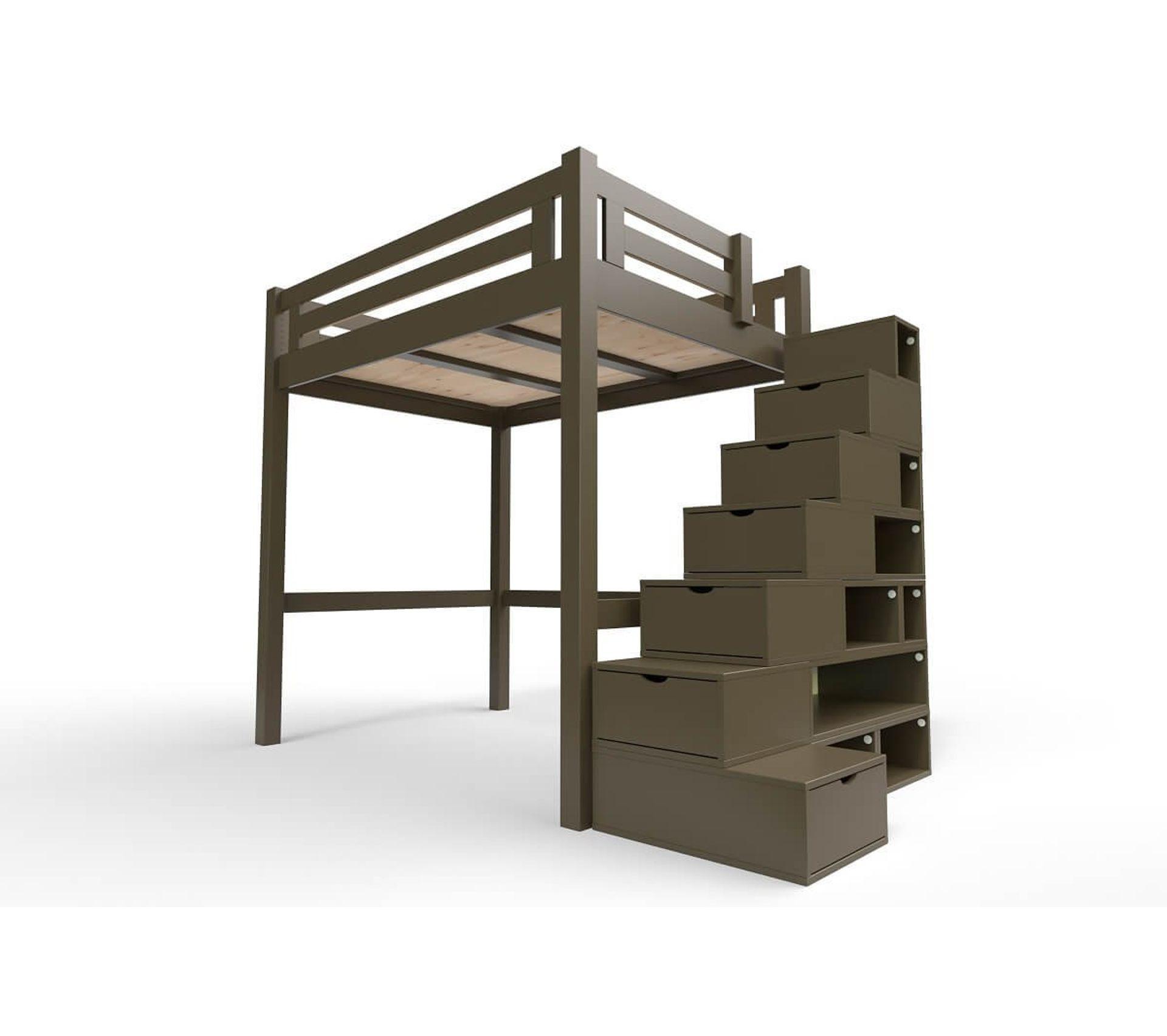 Lit Superposé Marche Escalier lit mezzanine alpage bois + escalier cube hauteur réglable, couleur: wengé,  dimensions: 120x200