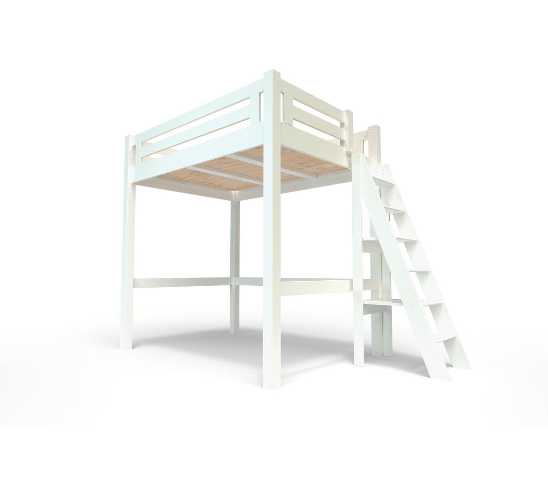 Lit Mezzanine 2 Adultes lit mezzanine alpage bois + Échelle hauteur réglable, couleur: blanc,  dimensions: 140x200
