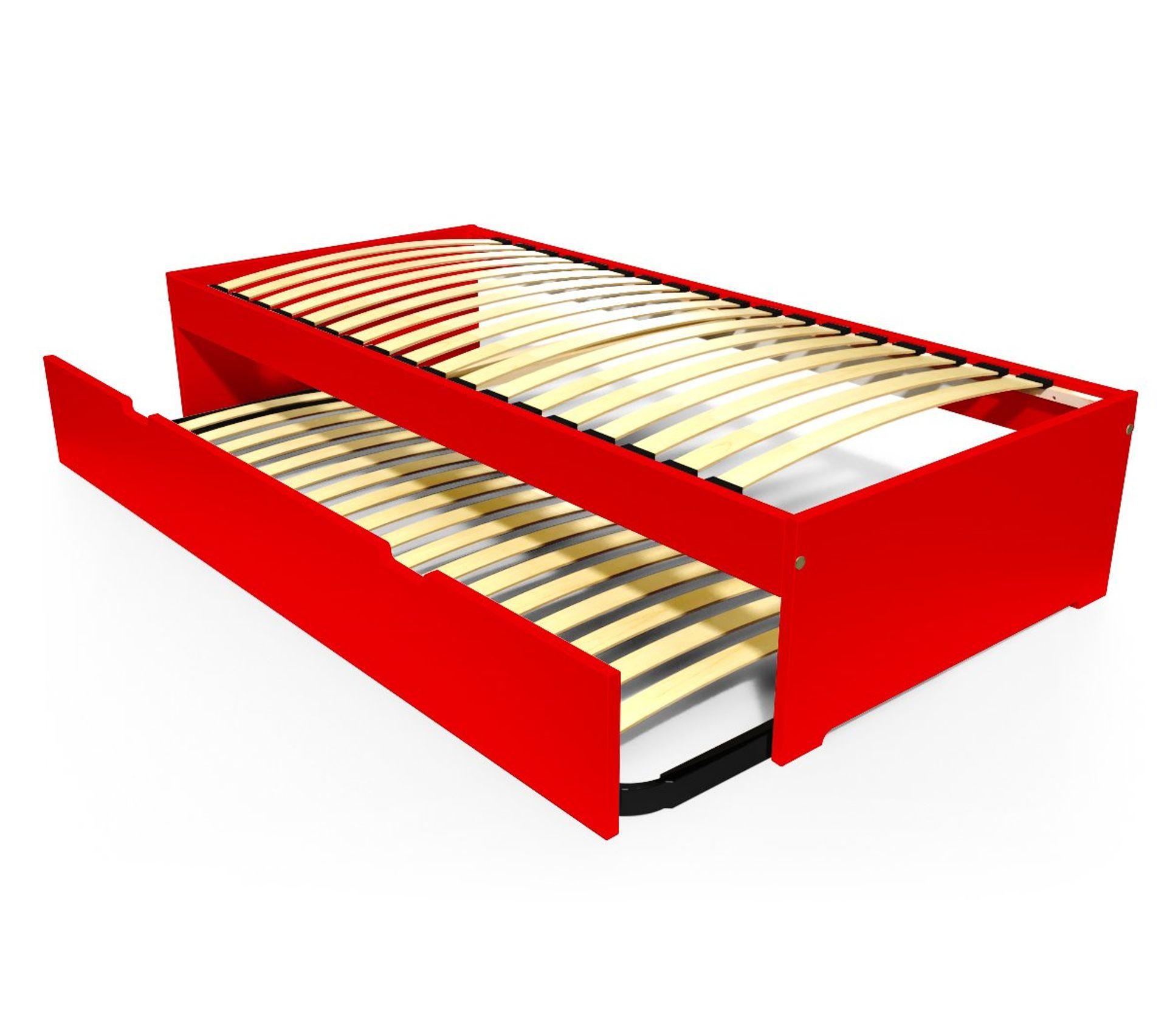 Couleur Avec Du Rouge lit gigogne malo avec tiroir lit bois, couleur: rouge, dimensions: 80x190