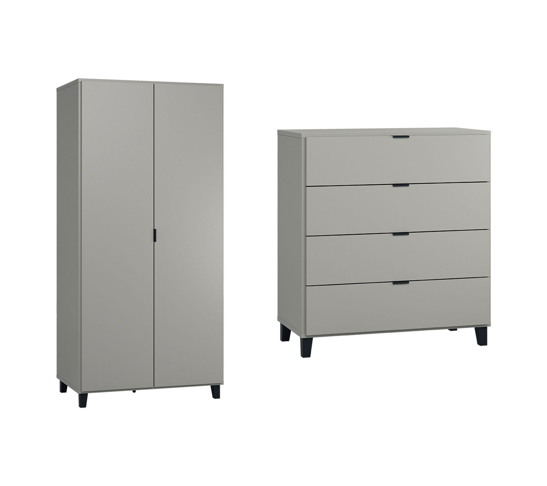Commode A Langer Angle commode À langer et armoire 2 portes vox simple - gris