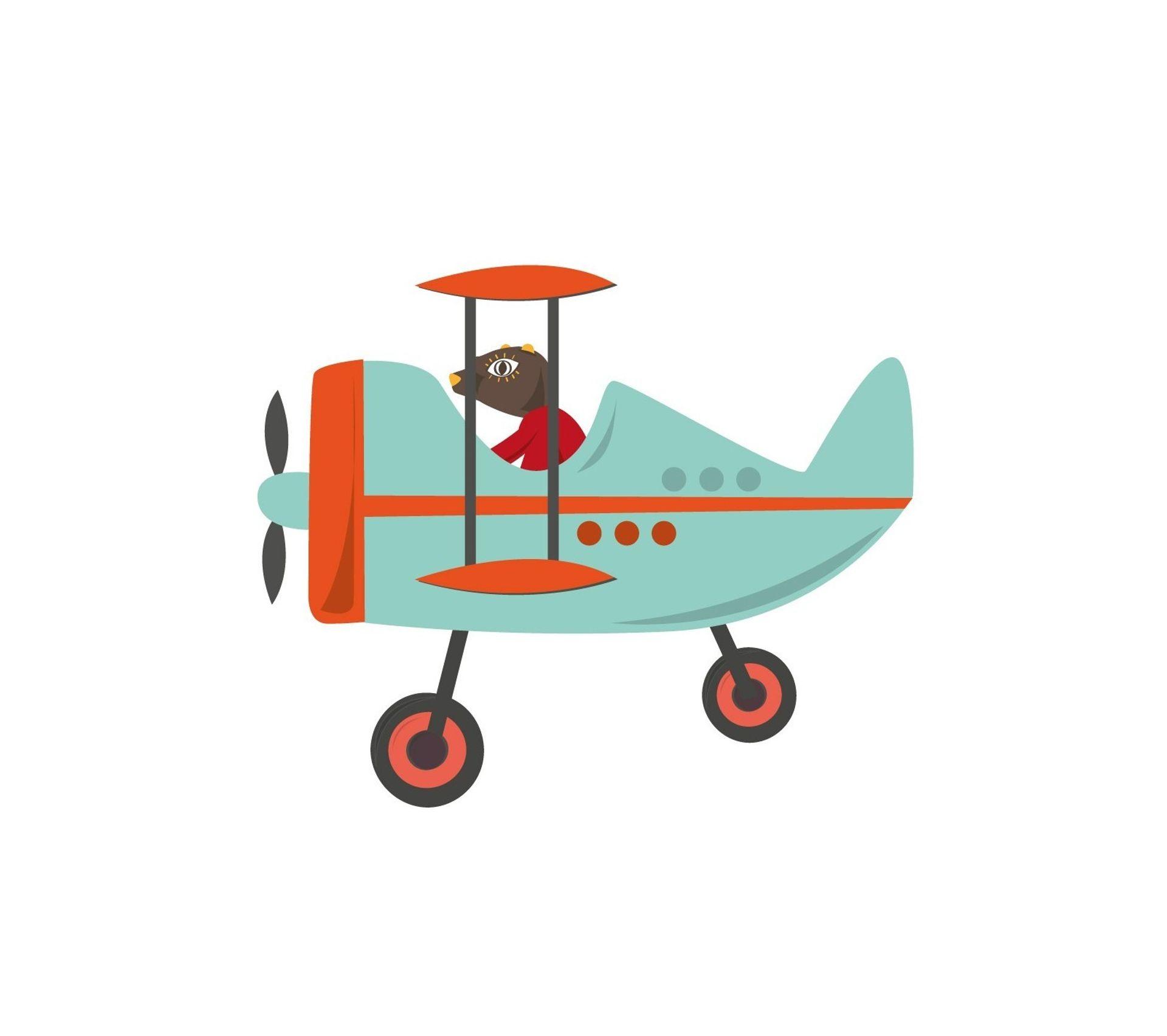 Etagere Avion Chambre Bebe sticker enfant: avion bleu speeder - format : 55 x 45 cm