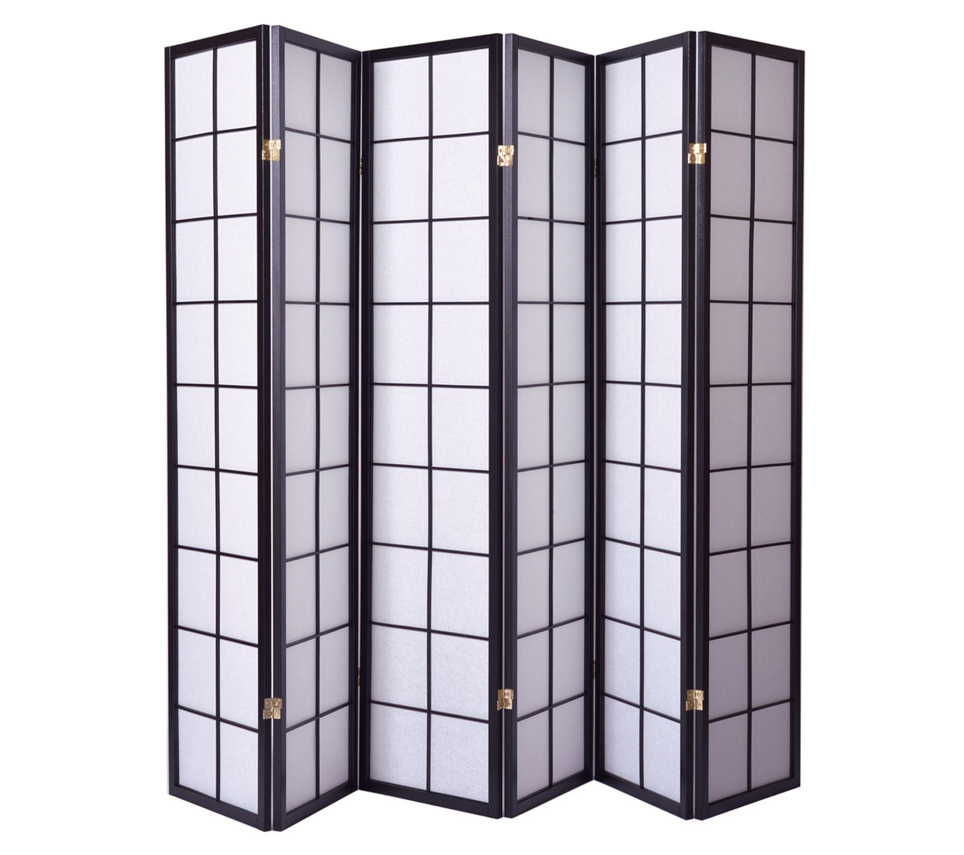 Paravent Japonais Grands Carreaux Bois Noir Et Papier De Riz 6 Pans Dim H 1786