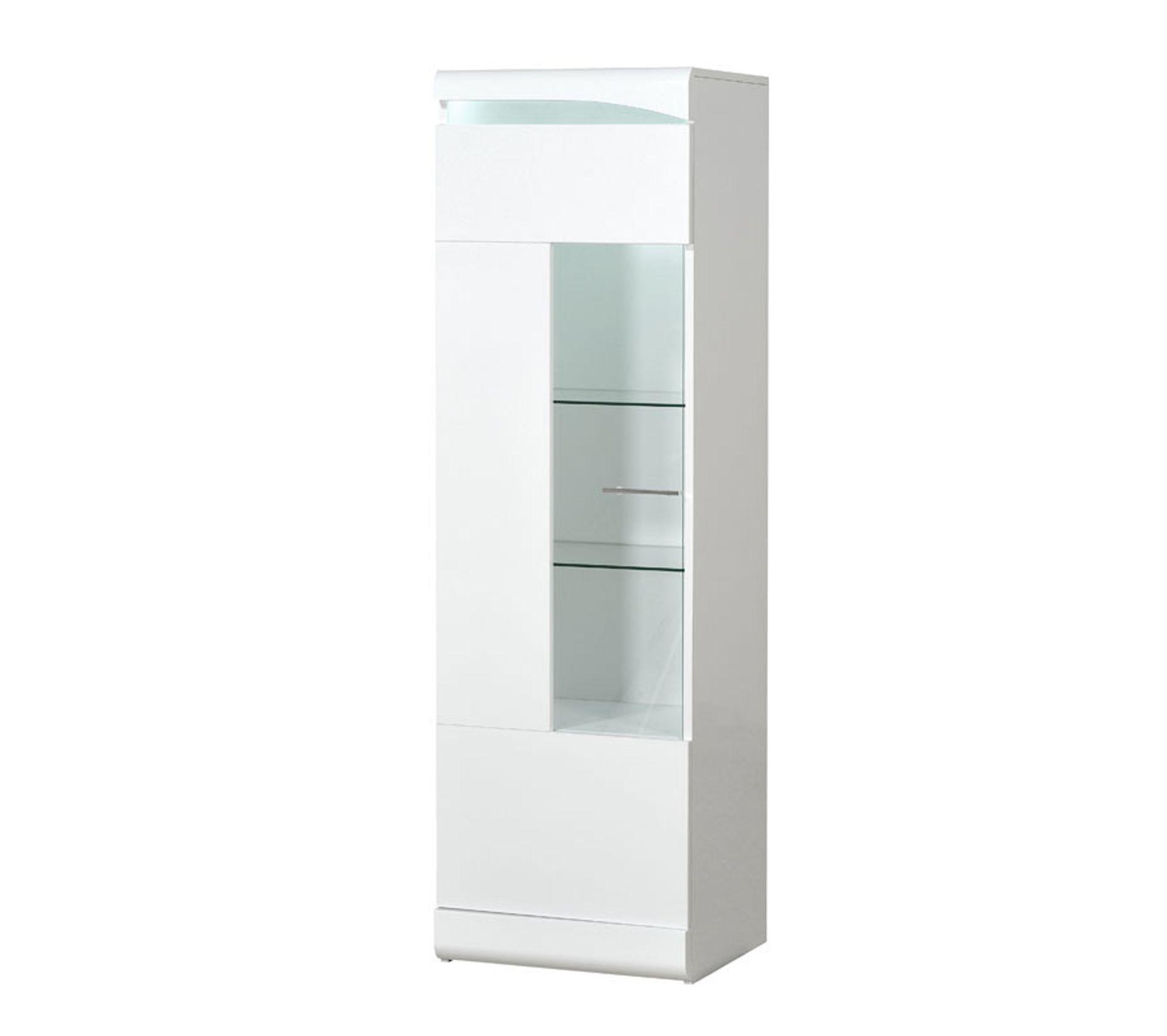 colonne vitree 1 porte blanc laque brillant a leds pesmes