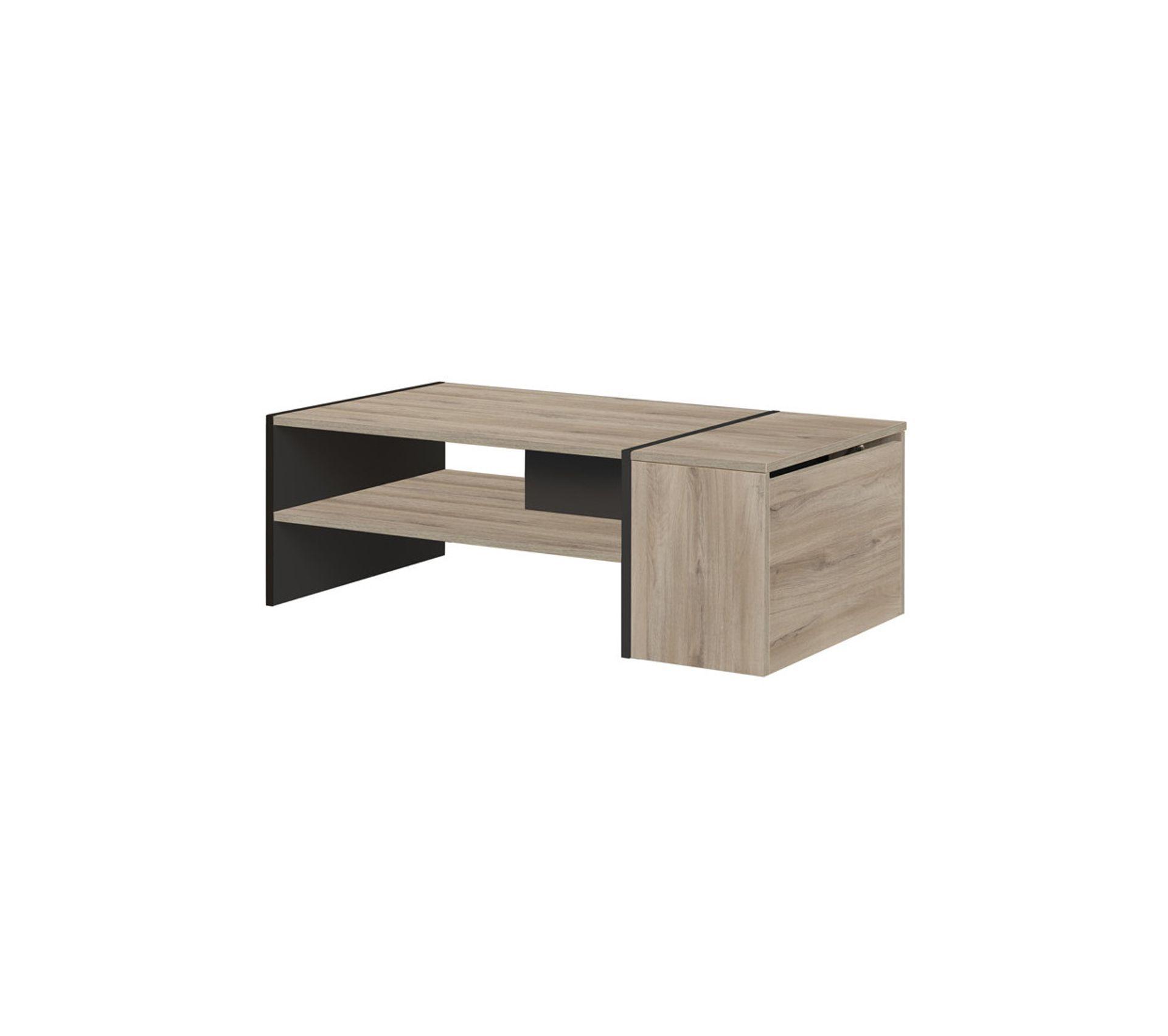 Table Basse Avec Coffre Noir Bois Clair Chicala Table Basse But