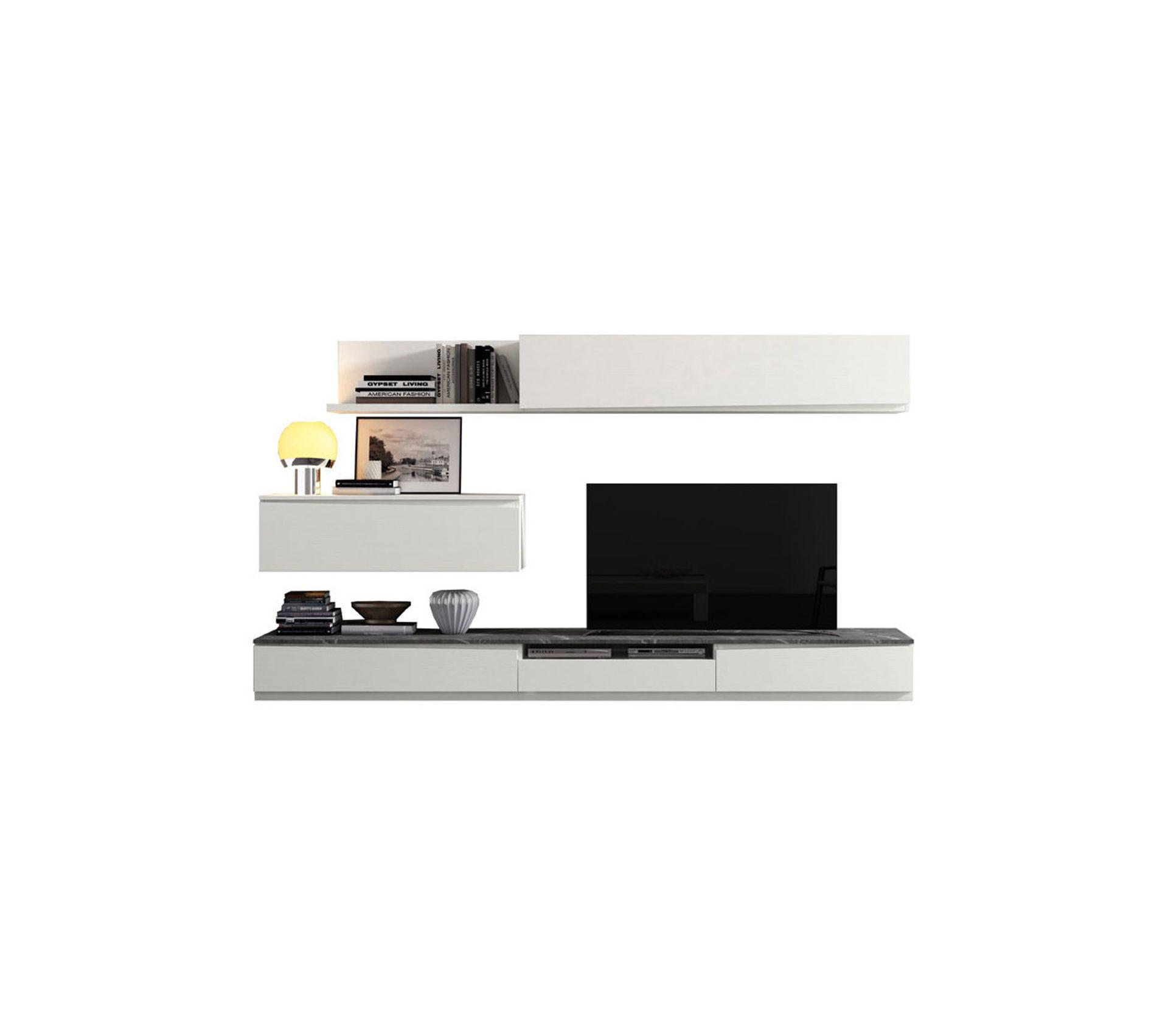 composition tv bois blanc marbre gris camelia n 1