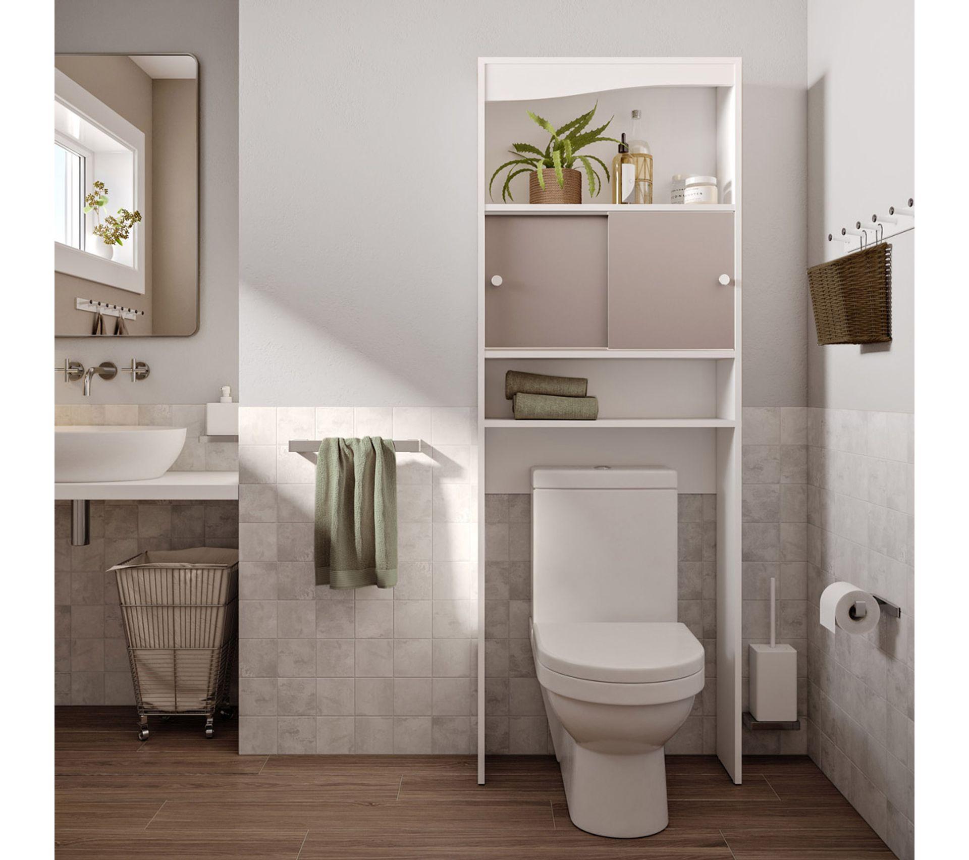 meuble wc ou machine a laver l 64 cm  blanc et taupe mat