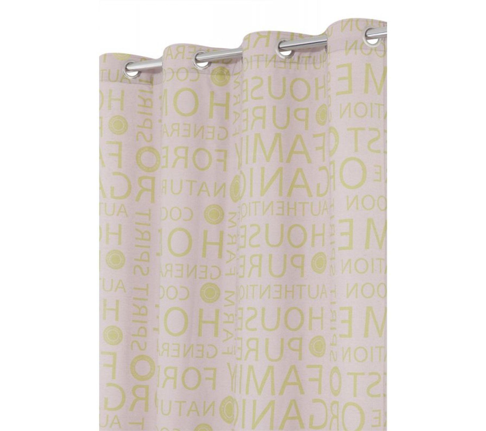 Housse Pour Plancha Tonio rideau imprimé en polycoton 140 x 240 cm motif moderne ecru-vert
