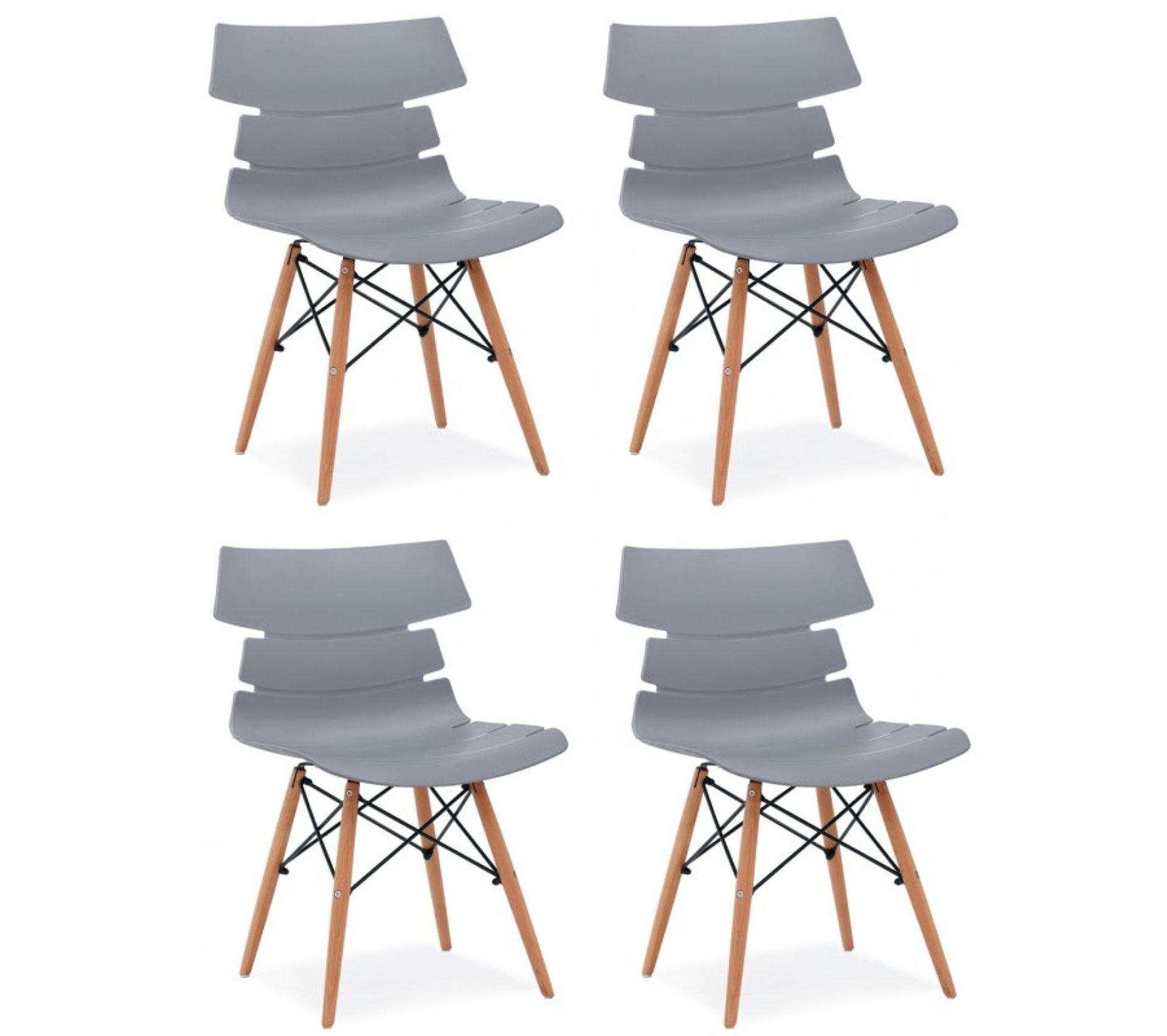 4 Chaises De Séjour Coque Design Pieds Bois Coloris: Gris