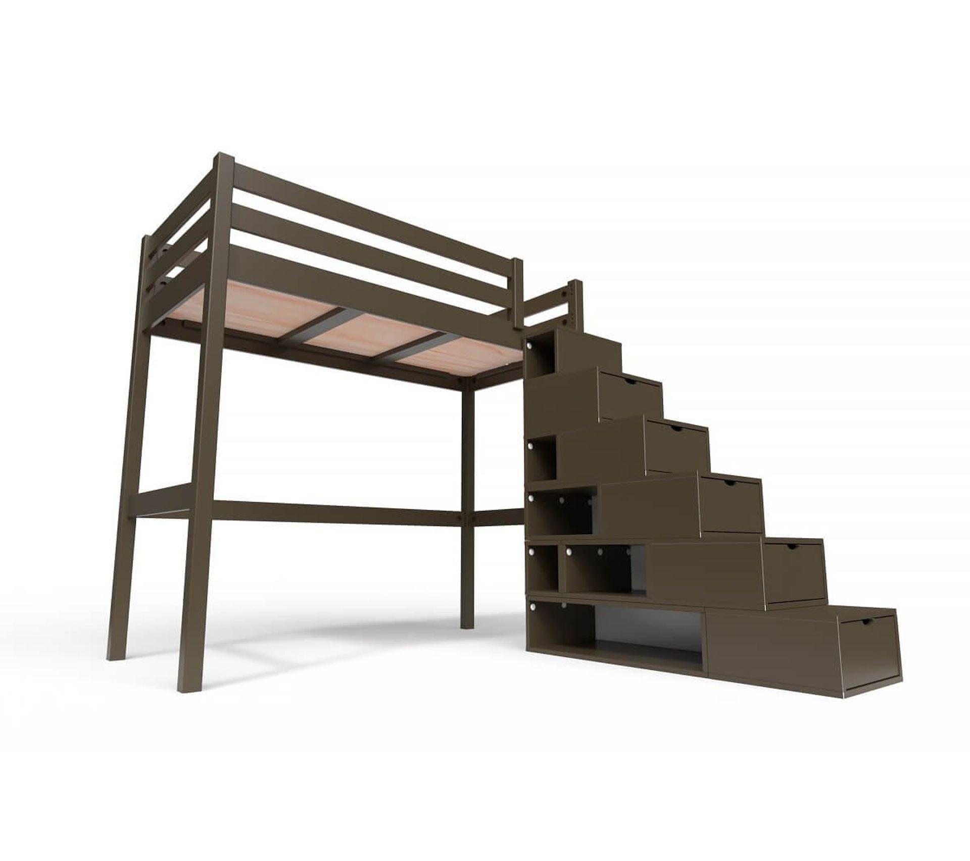 Lit Mezzanine Sylvia Avec Escalier Cube Bois, Couleur: Wengé, Dimensions: 90x200 - Lit superposé ...