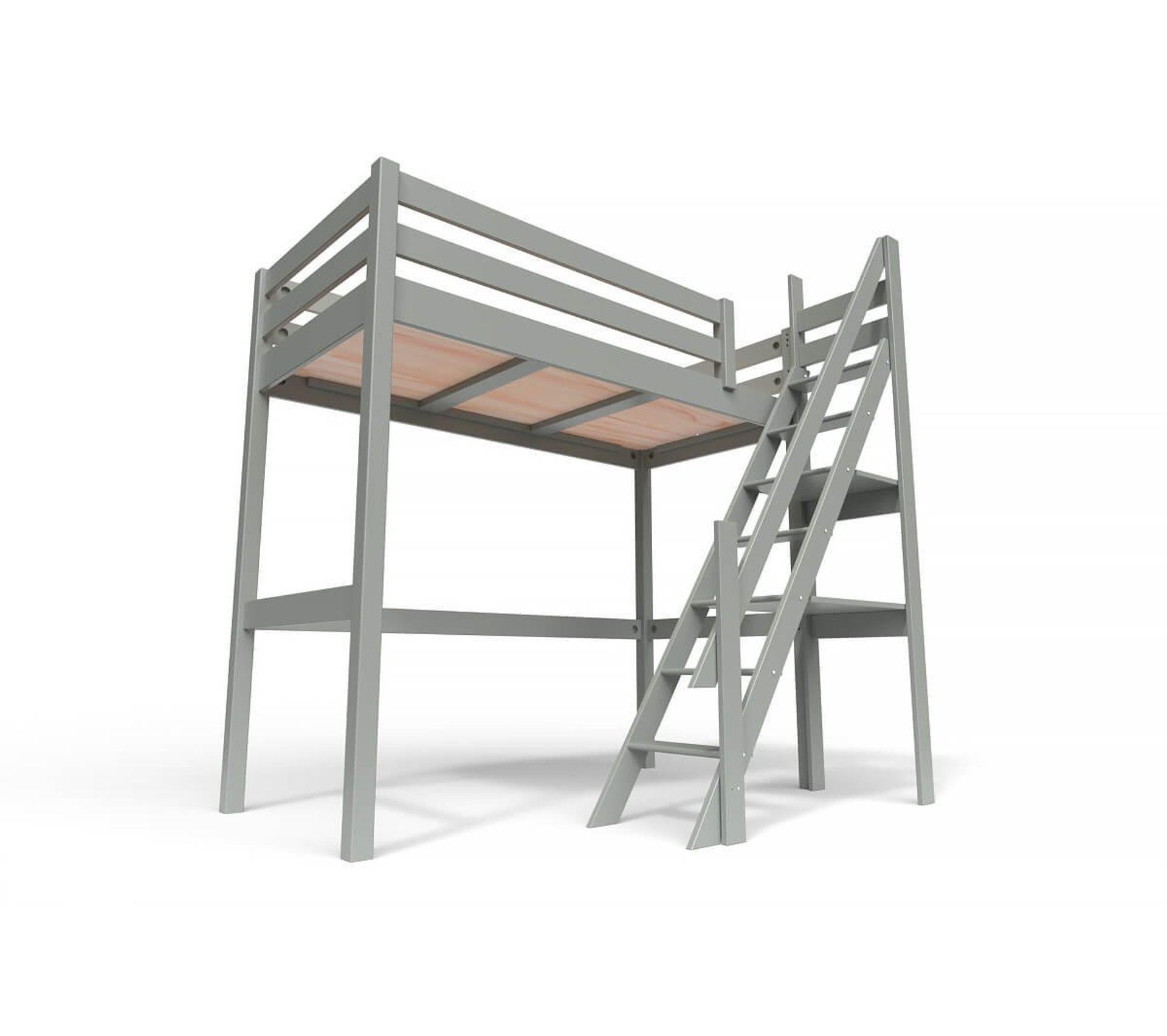 Lit Superposé Marche Escalier lit mezzanine sylvia avec escalier de meunier bois, couleur: gris,  dimensions: 90x200