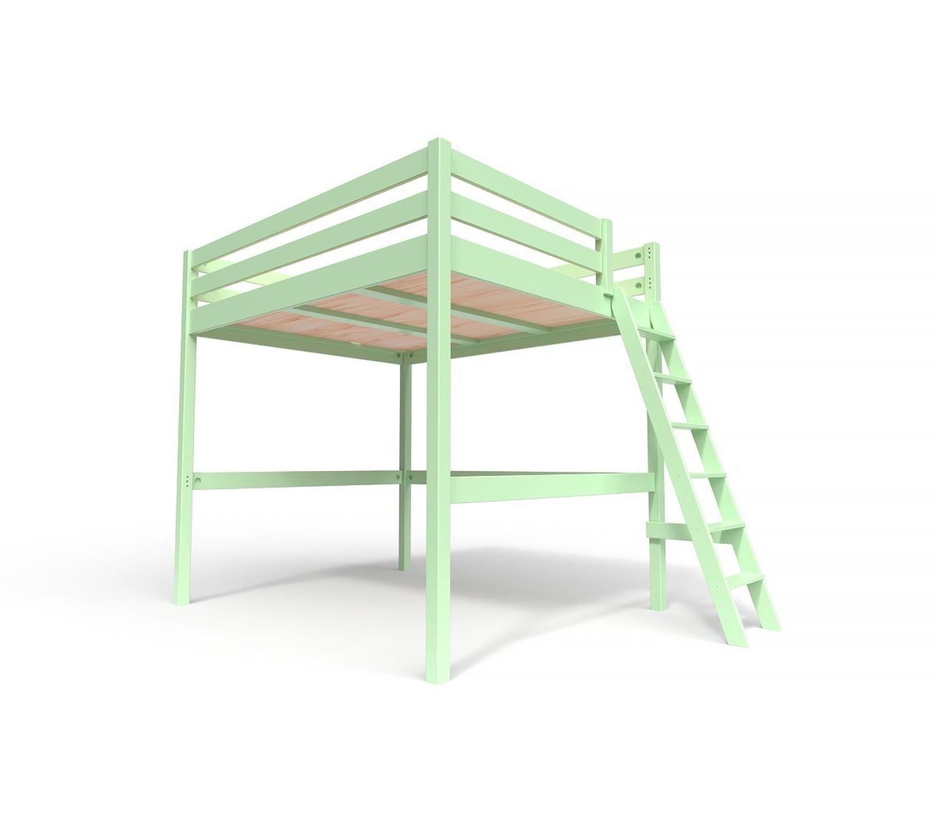 lit mezzanine sylvia avec Échelle bois couleur vert