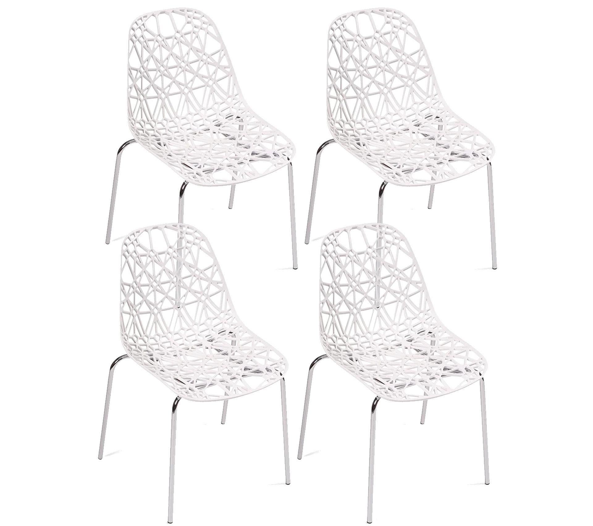 Lot de 4 Chaises de cuisine design moderne IKO (blanc)