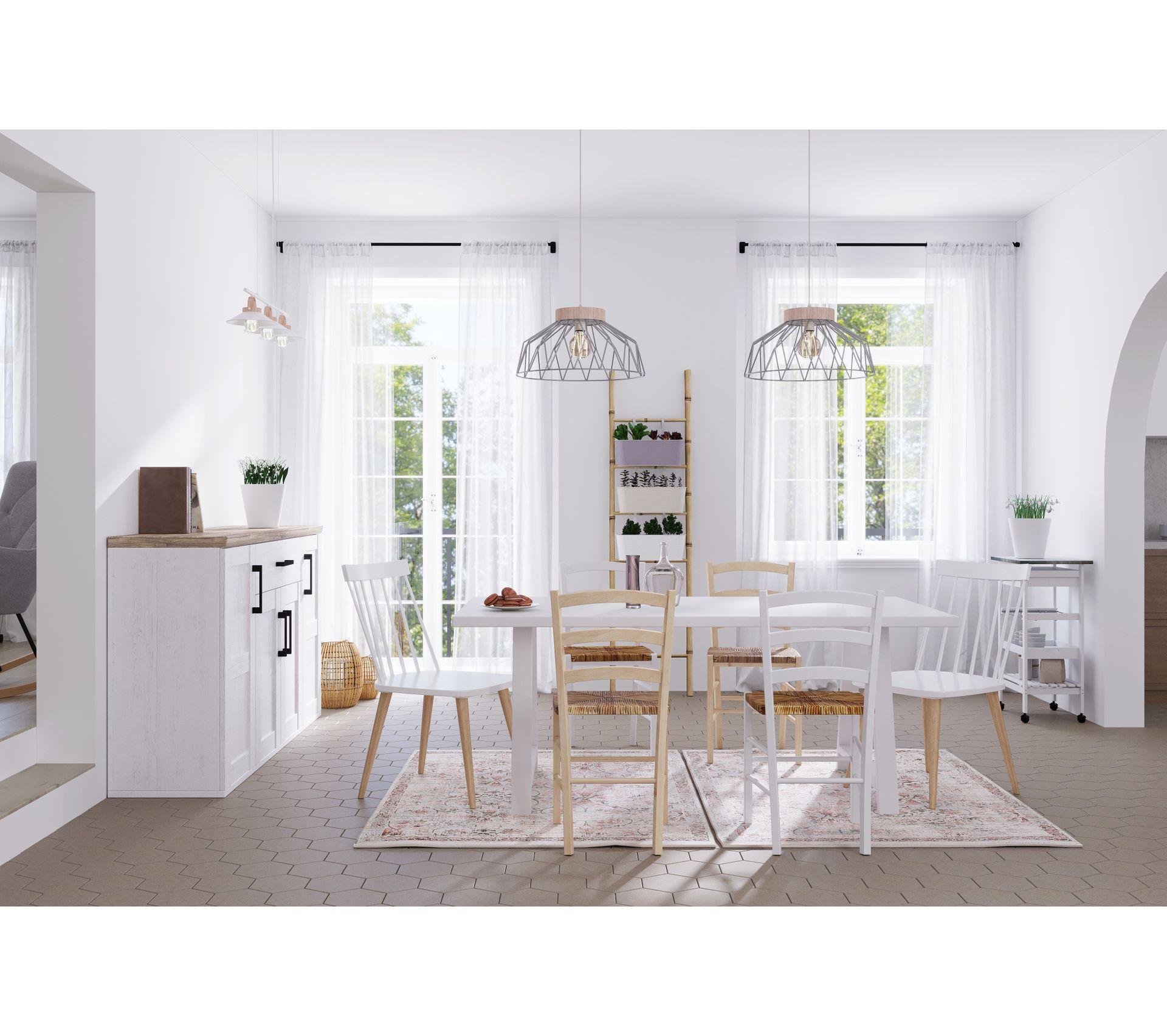 table l 180 rectangulaire prisca blanche
