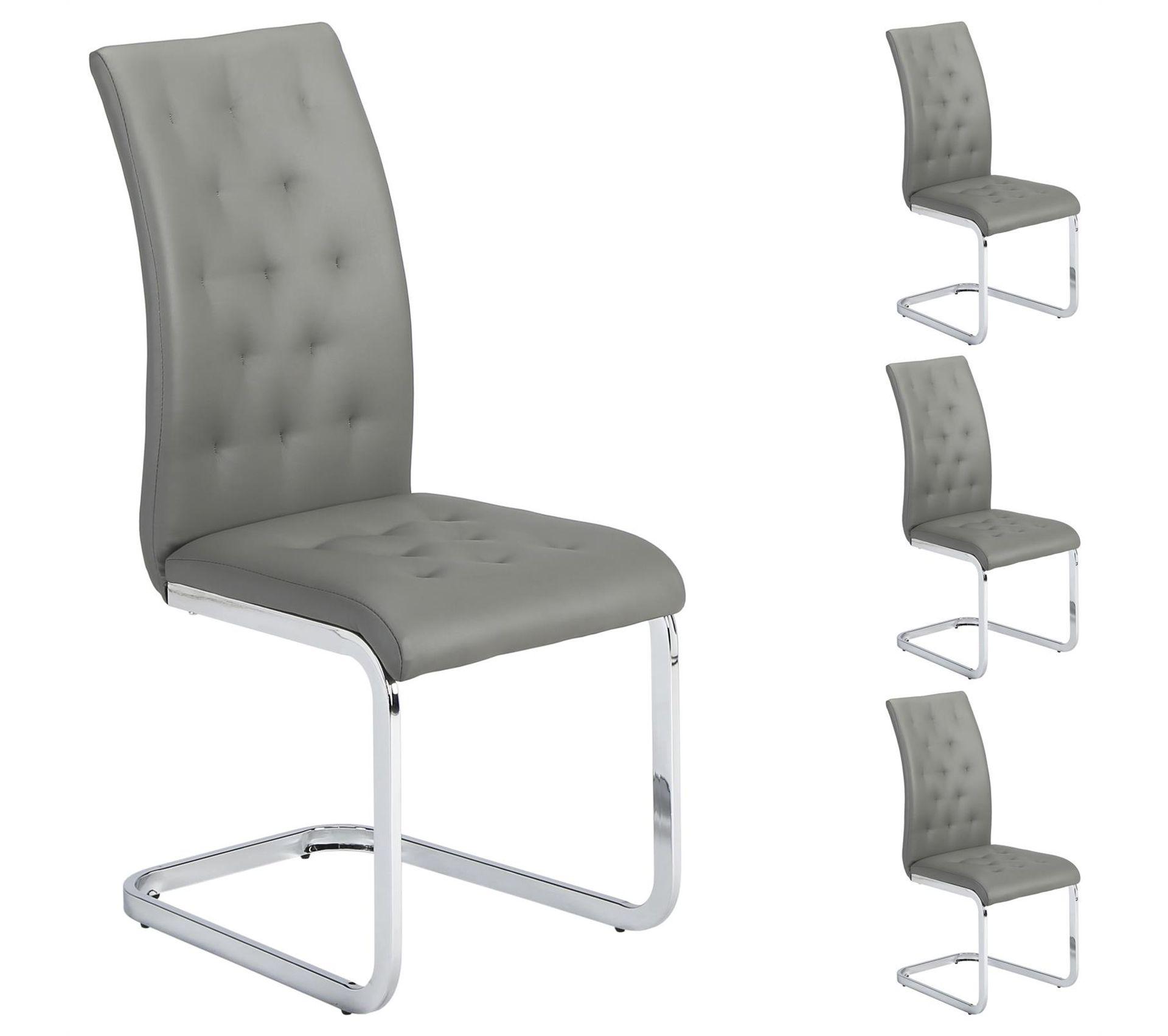 Salon De Jardin Chloé lot de 4 chaises chloe, en synthétique gris
