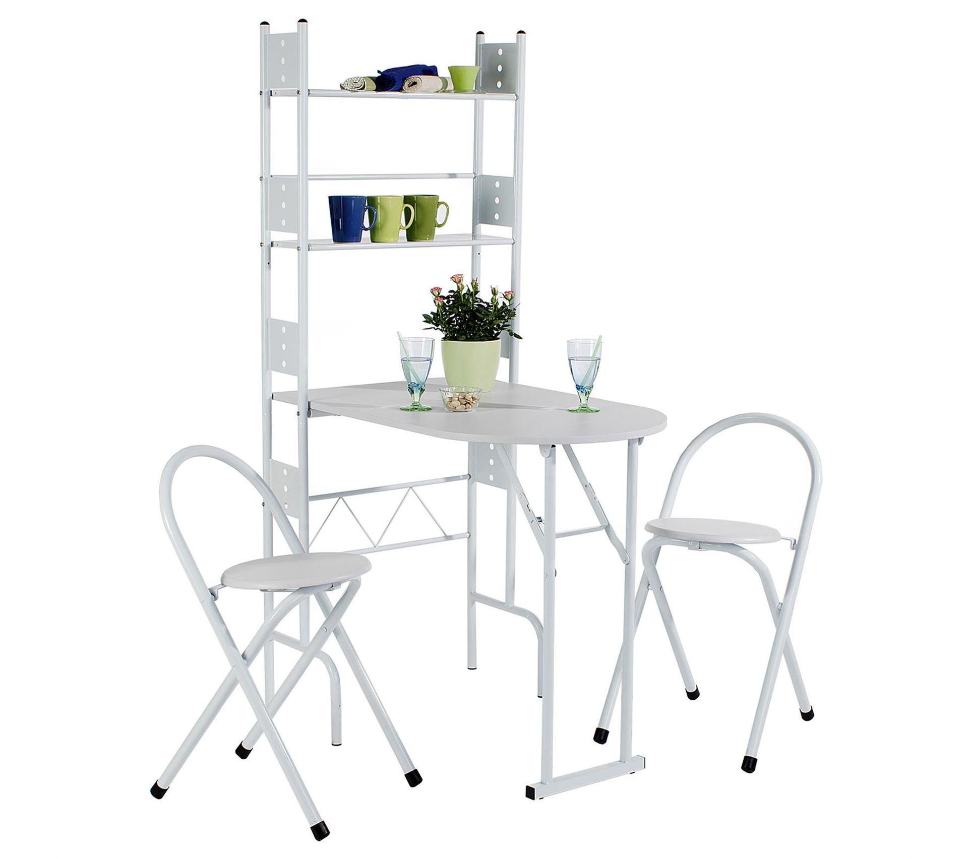 ensemble table de cuisine pliable avec etageres et 2 chaises jonathan blanc