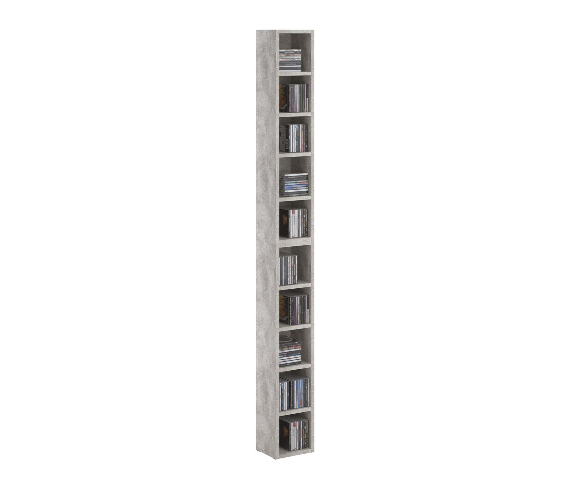 Etageres Modulables Musique Pour Cd Et Dvd En Melamine Decor Beton Bibliotheque Et Etagere But