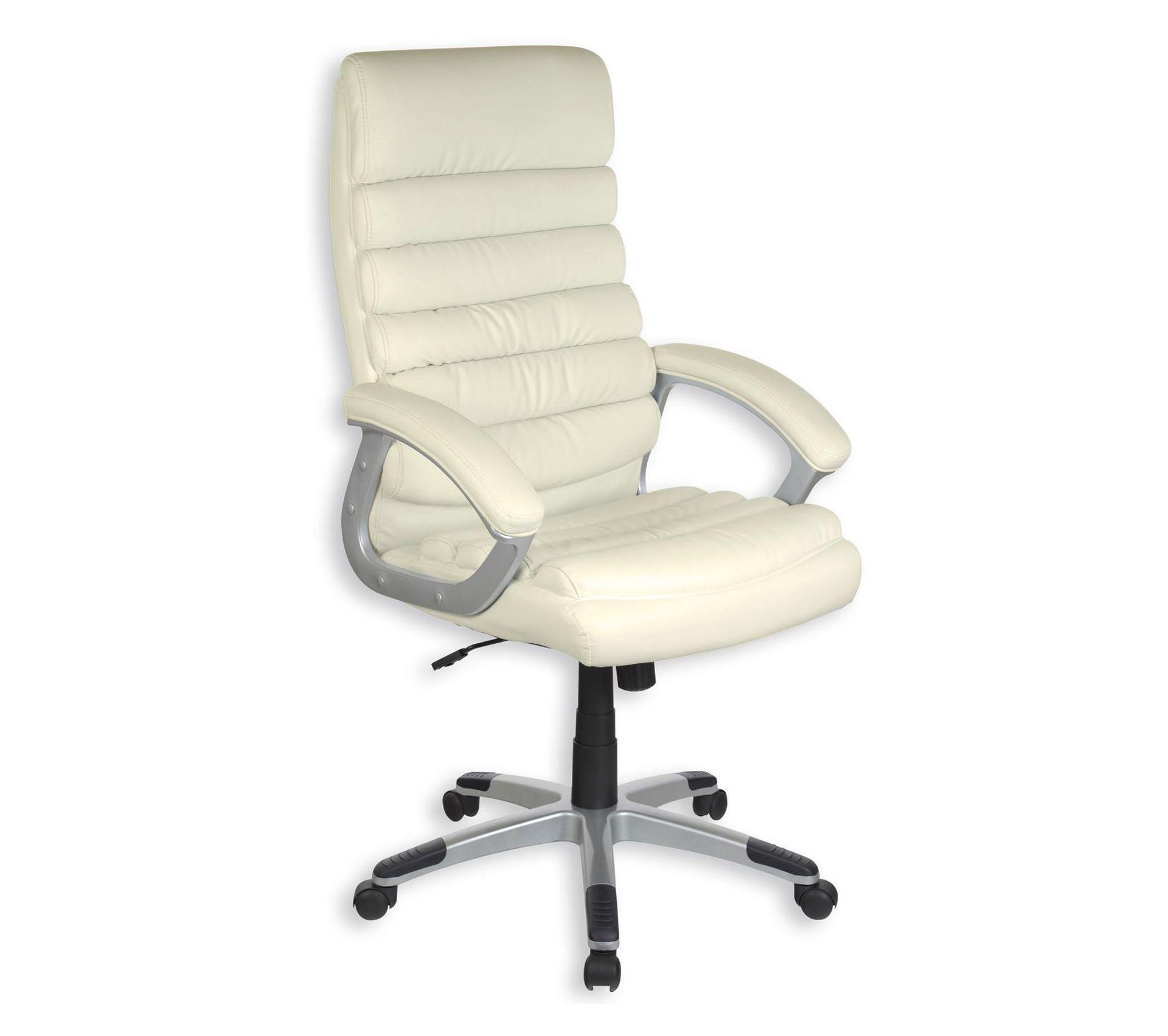 Matériel De Tapissier D Occasion fauteuil de bureau king, avec accoudoirs, en synthétique blanc
