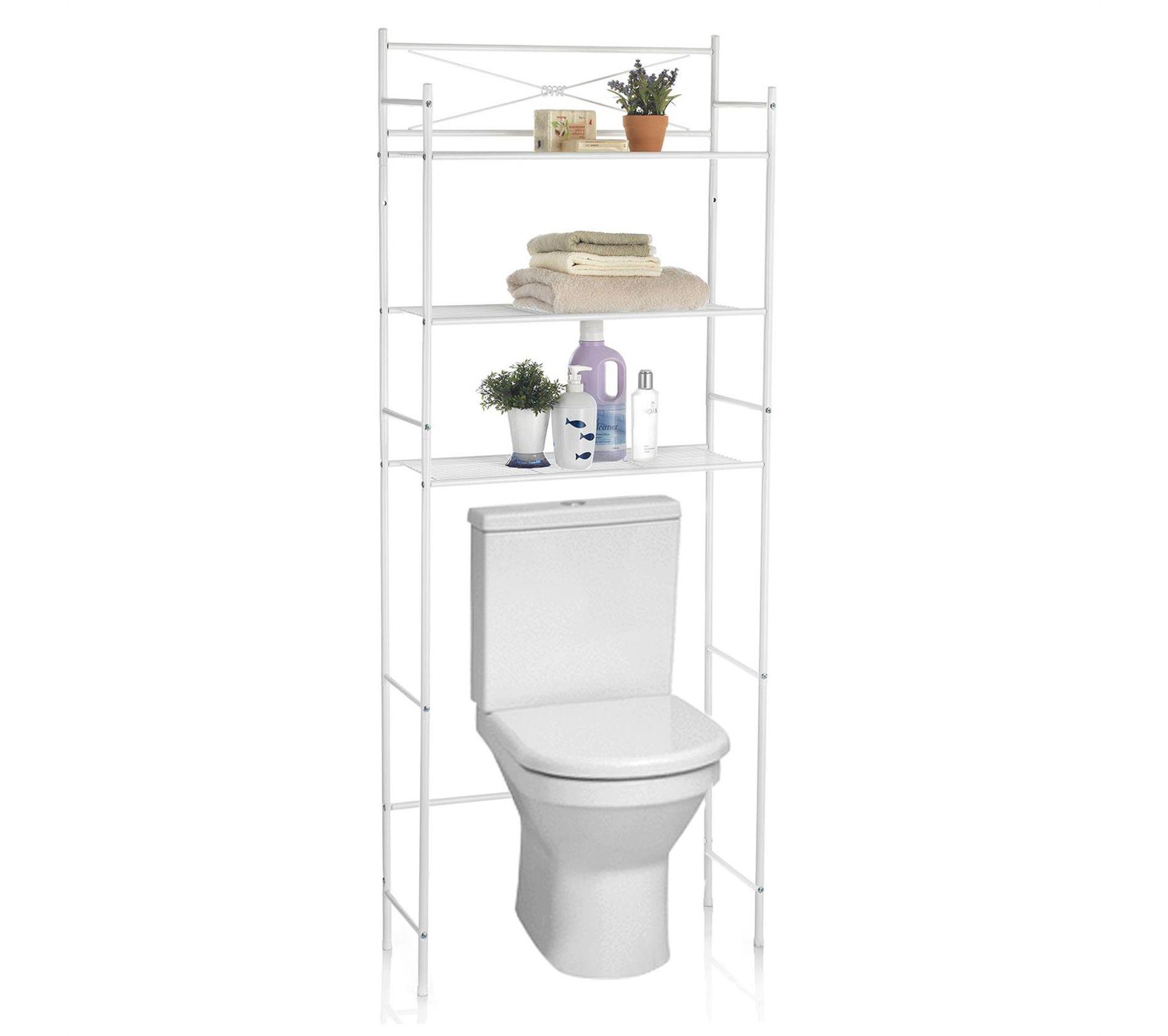 Lave Main Sur Wc Existant etagère de salle de bain marsa, rangement pour wc/lave-linge, en métal  laqué blanc