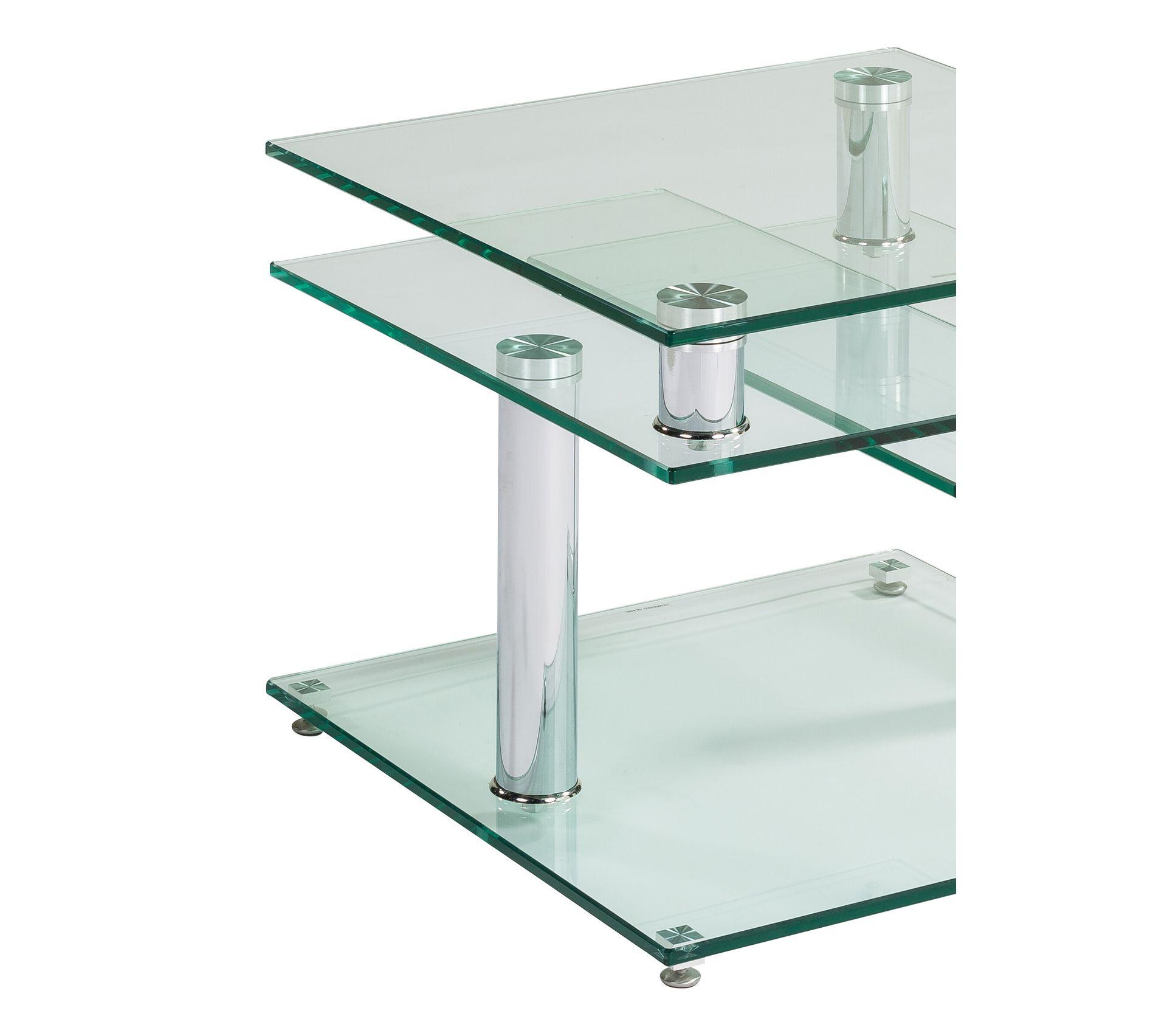table basse verre et chrome dino 2 avec 2 plateaux pivotants