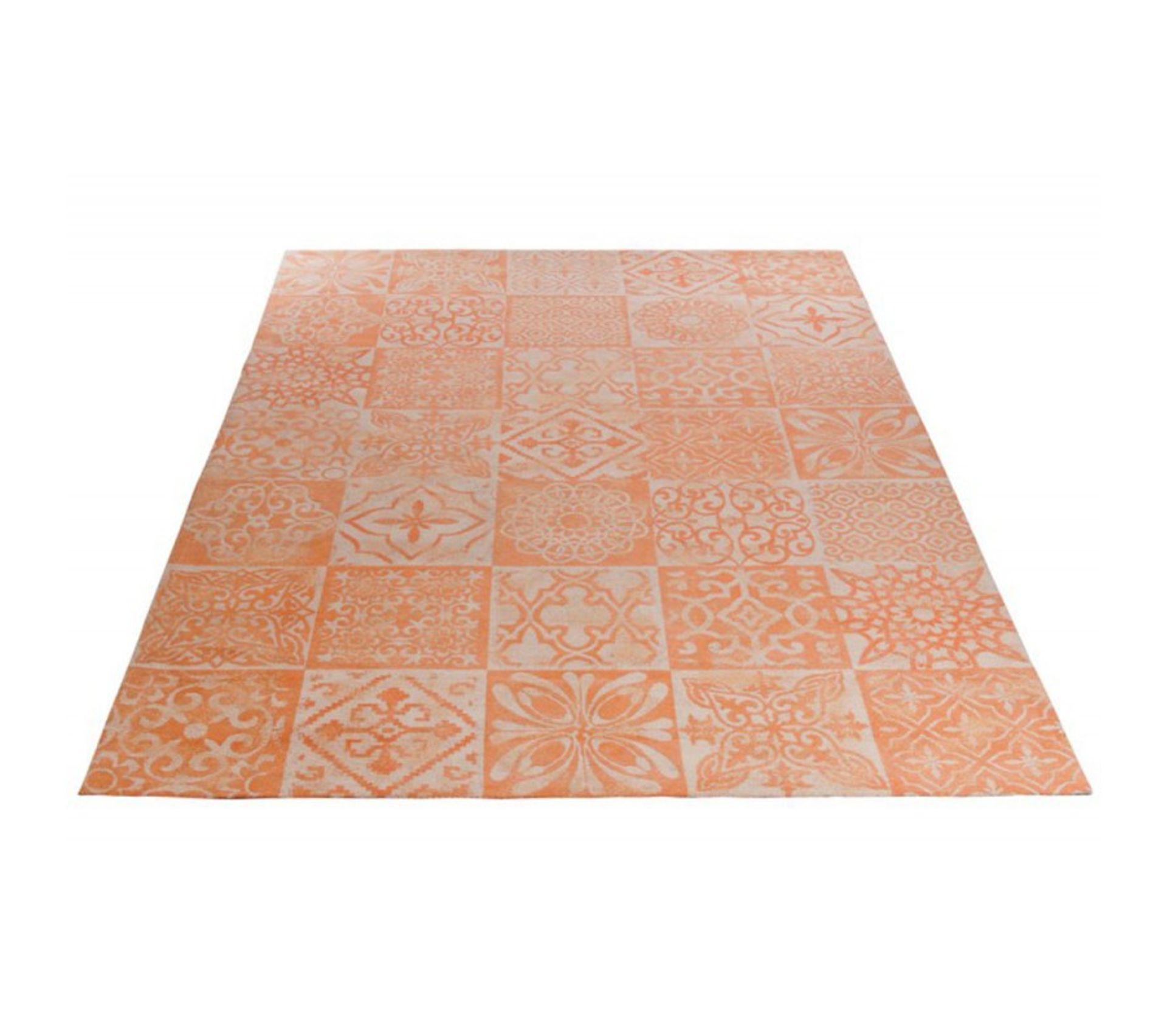 tapis de salon athenes 200x300 cm orange et gris