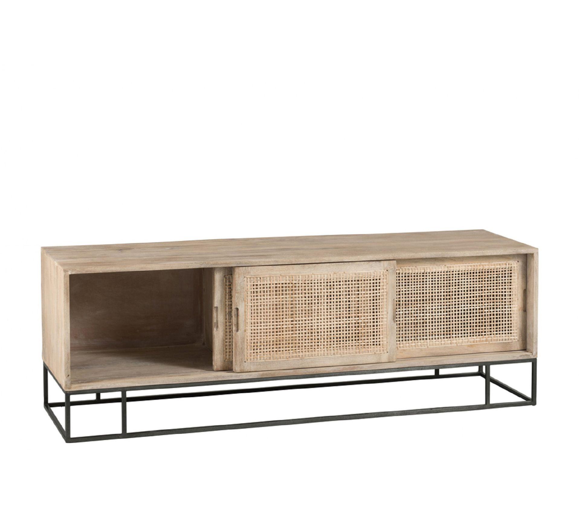 Meuble Tv Angle Bas meuble tv bas en bois et rotin tissé sand