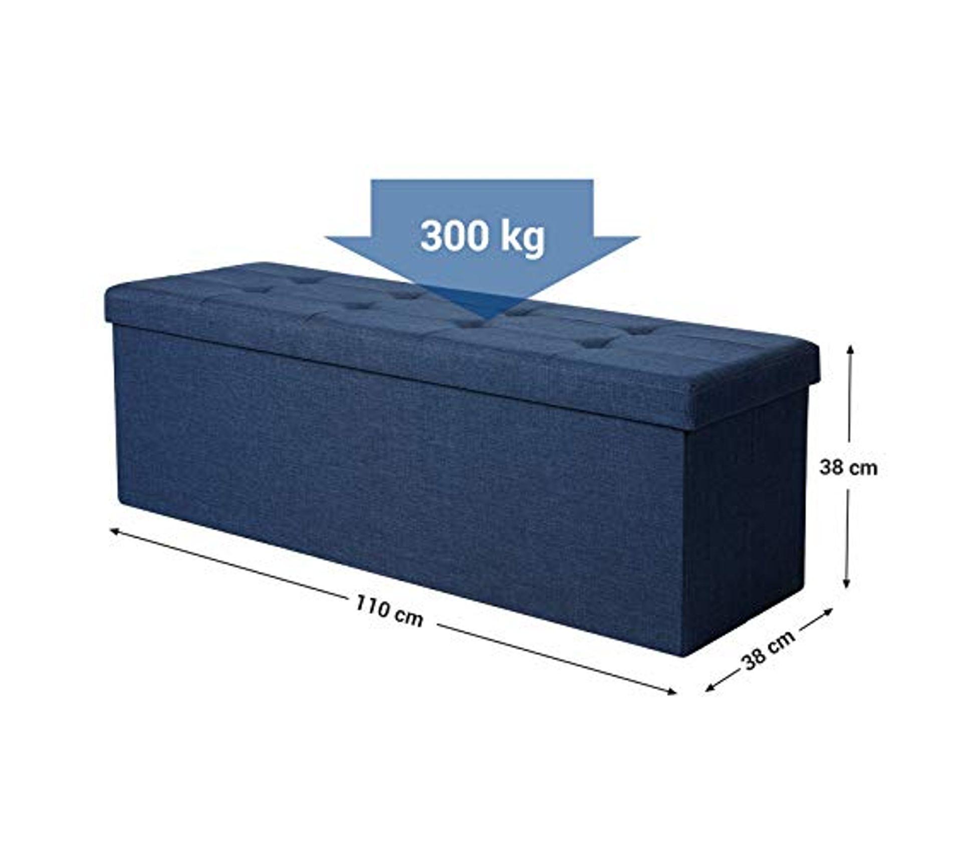 Camabel Banc de Rangement de Rangement en Lin Coffre Pliable Banquette de Rangement Charge admissible 300 kg Grand Pouf pliable76 x 38 x 38 cm
