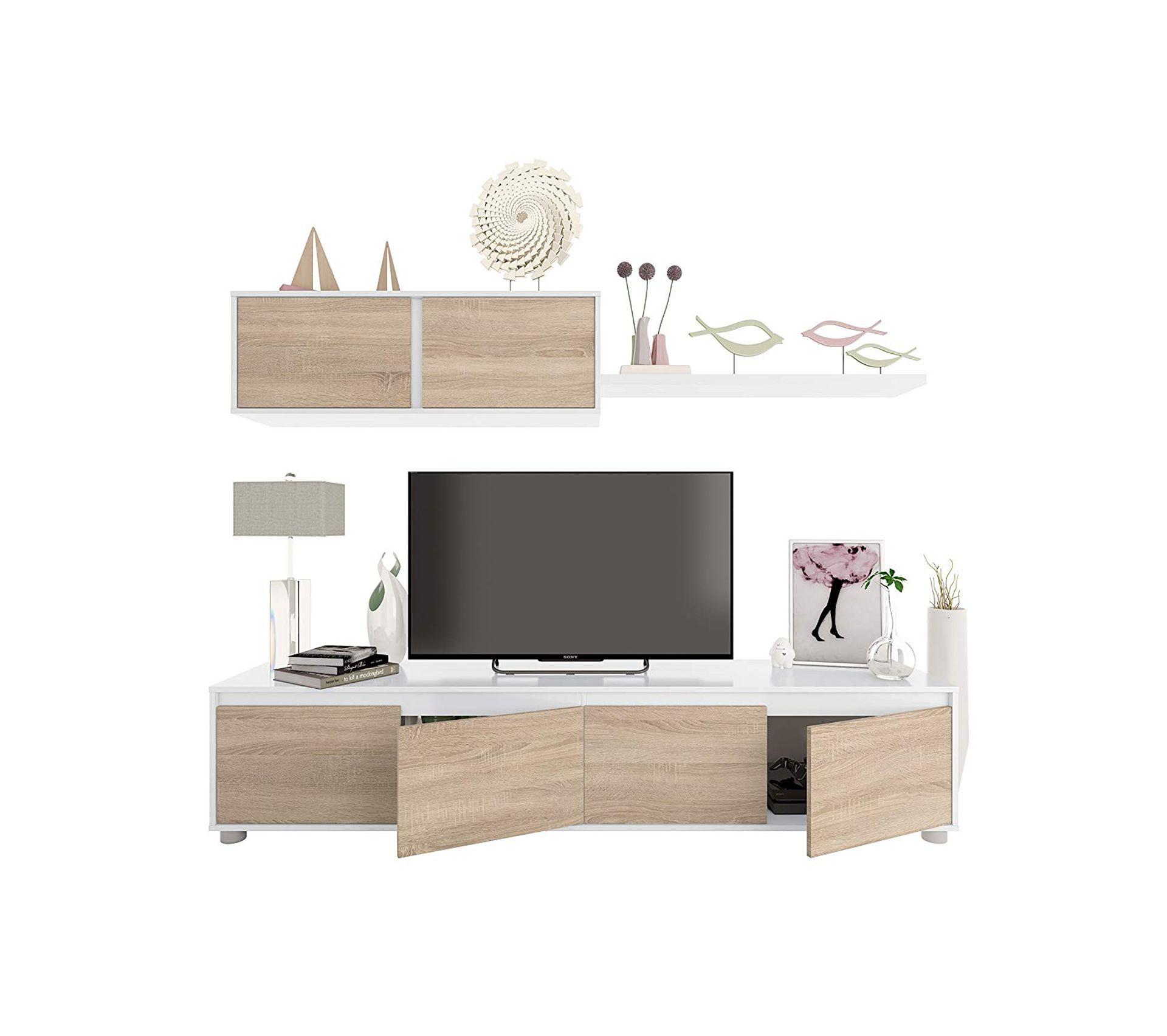 Meuble Tv Bibliothèque Blanc ensemble meuble tv scandinave alidi bois et blanc avec meuble haut