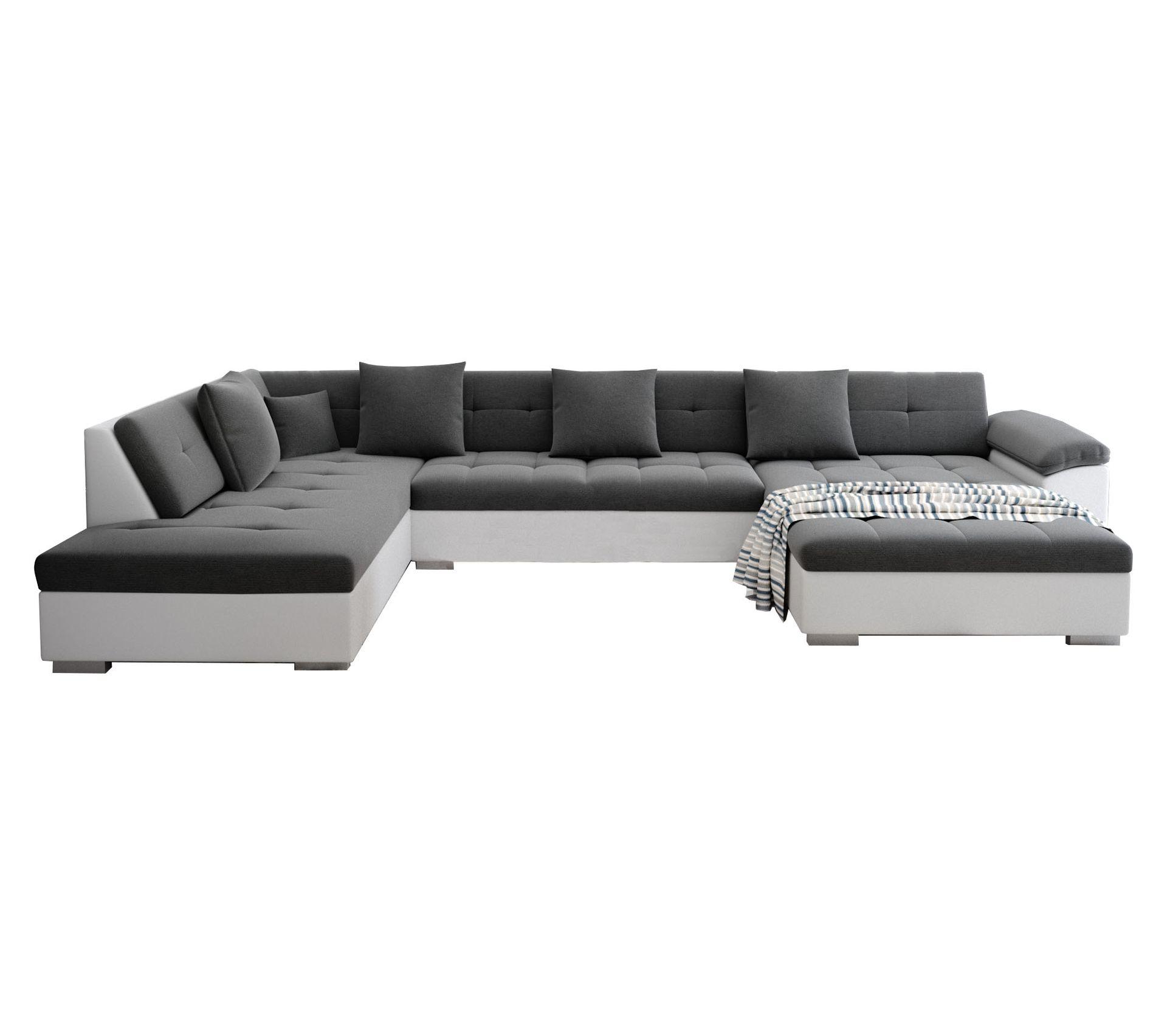 Canapé Qui S Affaisse Solution atis - canapé dangle panoramique xxl en u - en tissu - angle gauche (gris  et blanc)