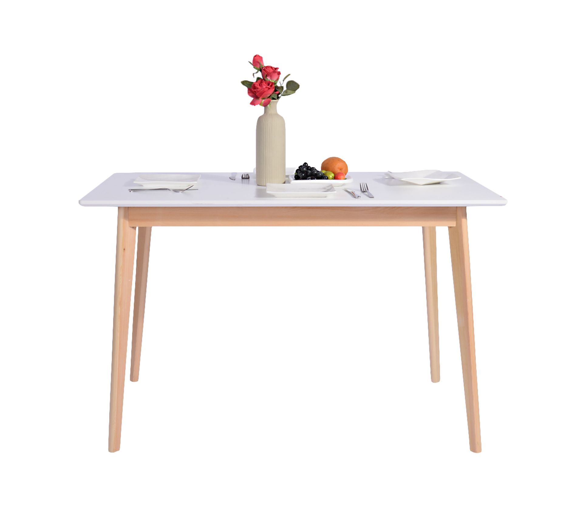 Table A Manger Rectangulaire Scandinave Blanche Bois Table But