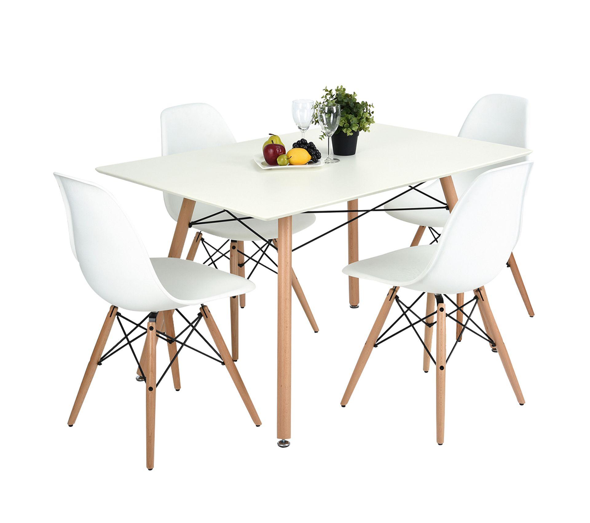 Ensemble Table À Manger Rectangulaire 7*7 Et 7 Chaises Scandinave Blanc  Bois