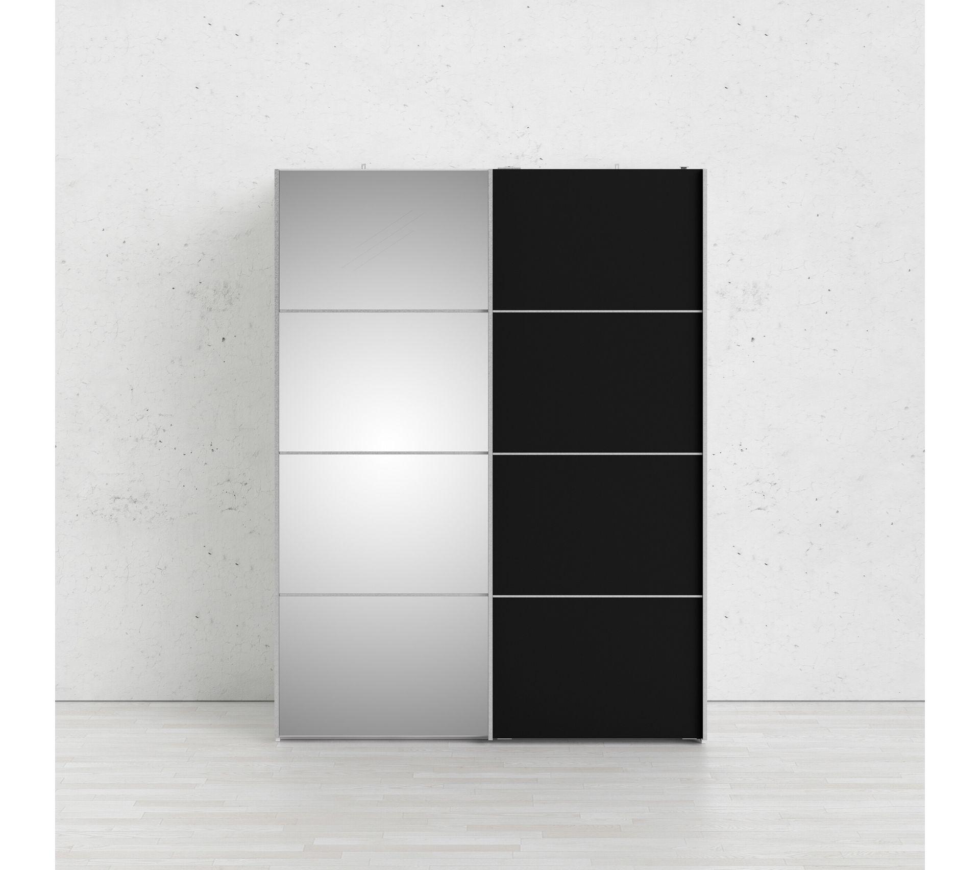 Armoire 2 Portes Coulissantes Glass L 150 Cm Blanc Et Noir Armoire But