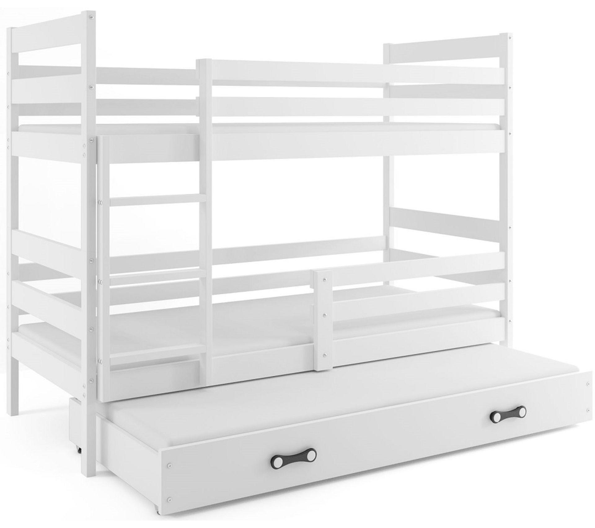 lit superpose eryk 160x80 pour 3 personnes avec matelas sommiers et tiroir en blanc blanc