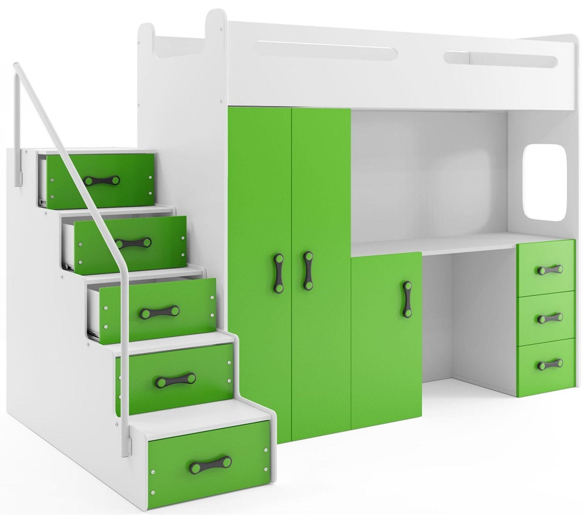 lit mezzanine max 4 en 80x200 avec bureau armoire matelas sommier et escalier en blanc vert