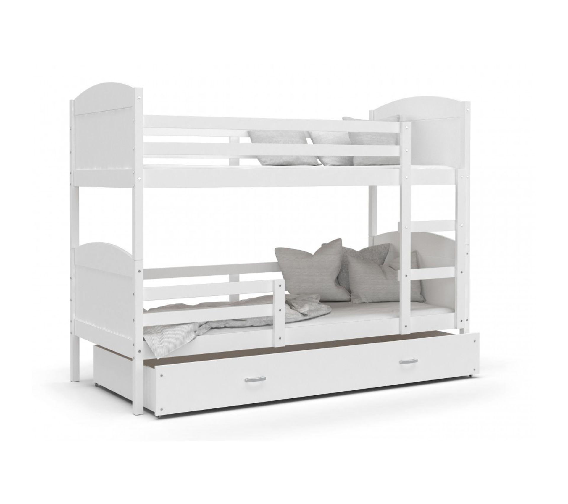 Lit Superposé 3 Étages lit superpose mateo 90x190 blanc blanc livré avec tiroir, sommier et  matelas en mousse de 7cm offert