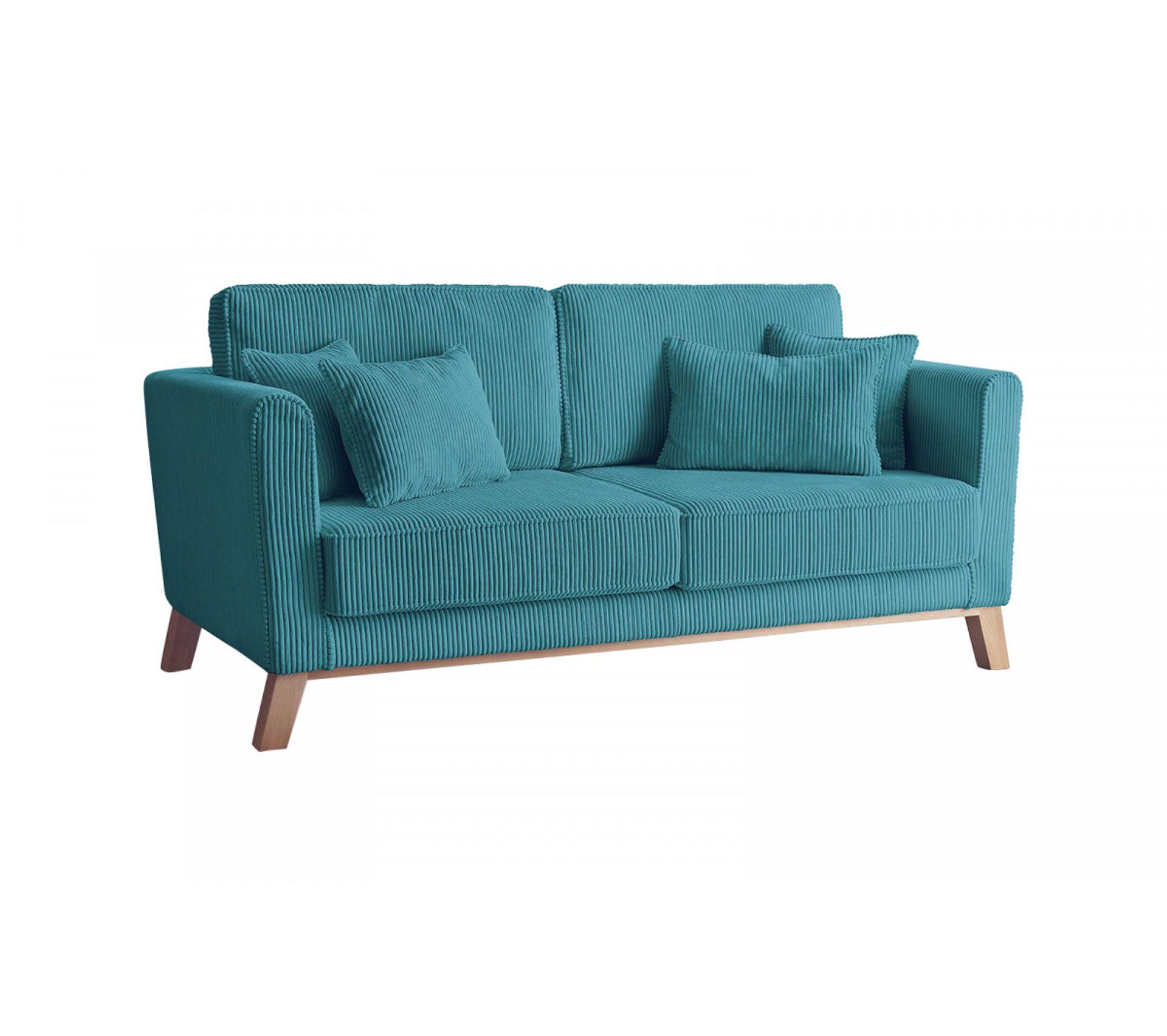 Canapé En Velours Cotelé bobochic canapé droit velours côtelé doblo bleu canard