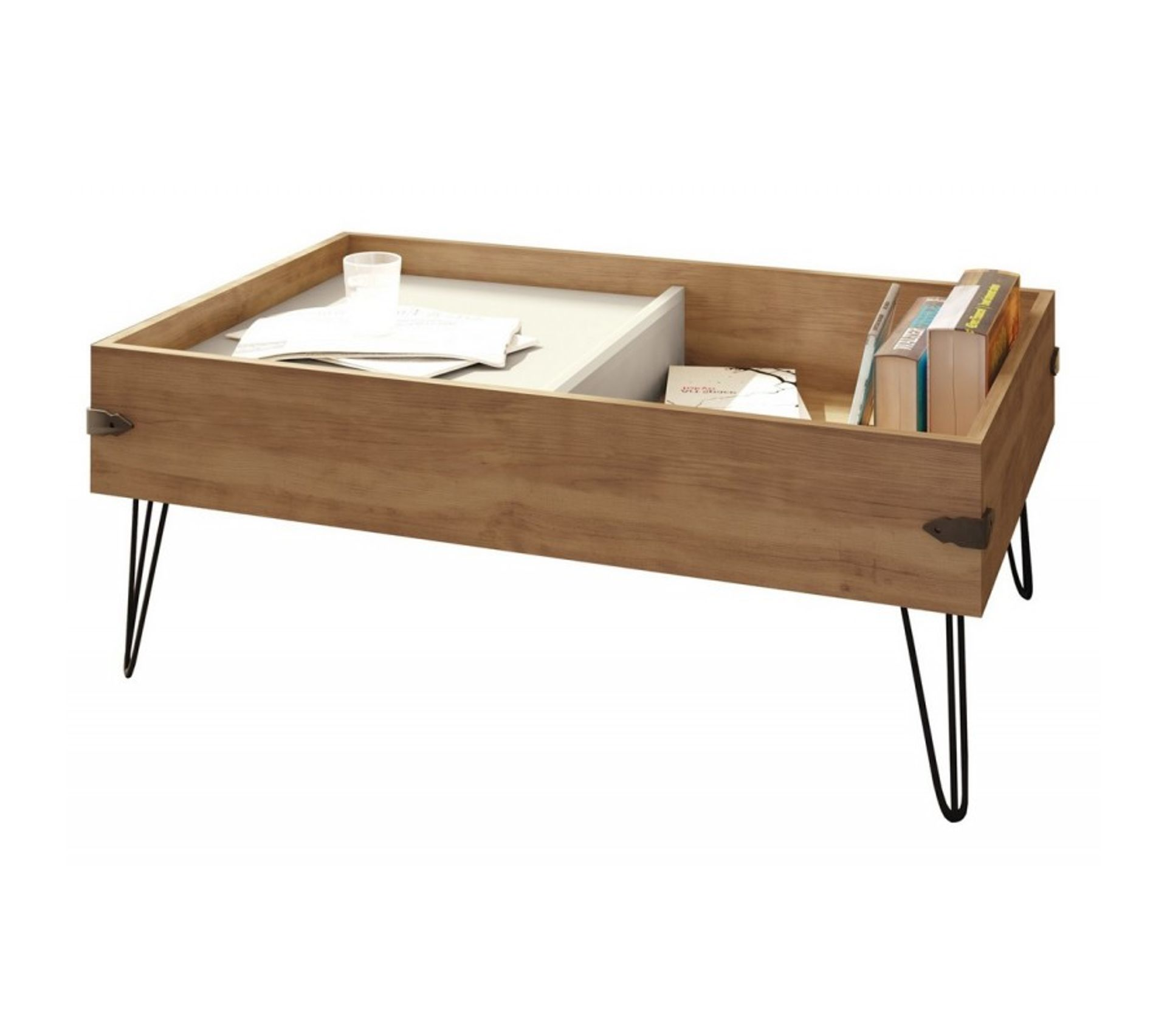Table Basse Chene 1 Tiroir Pieds Metal Table Basse But