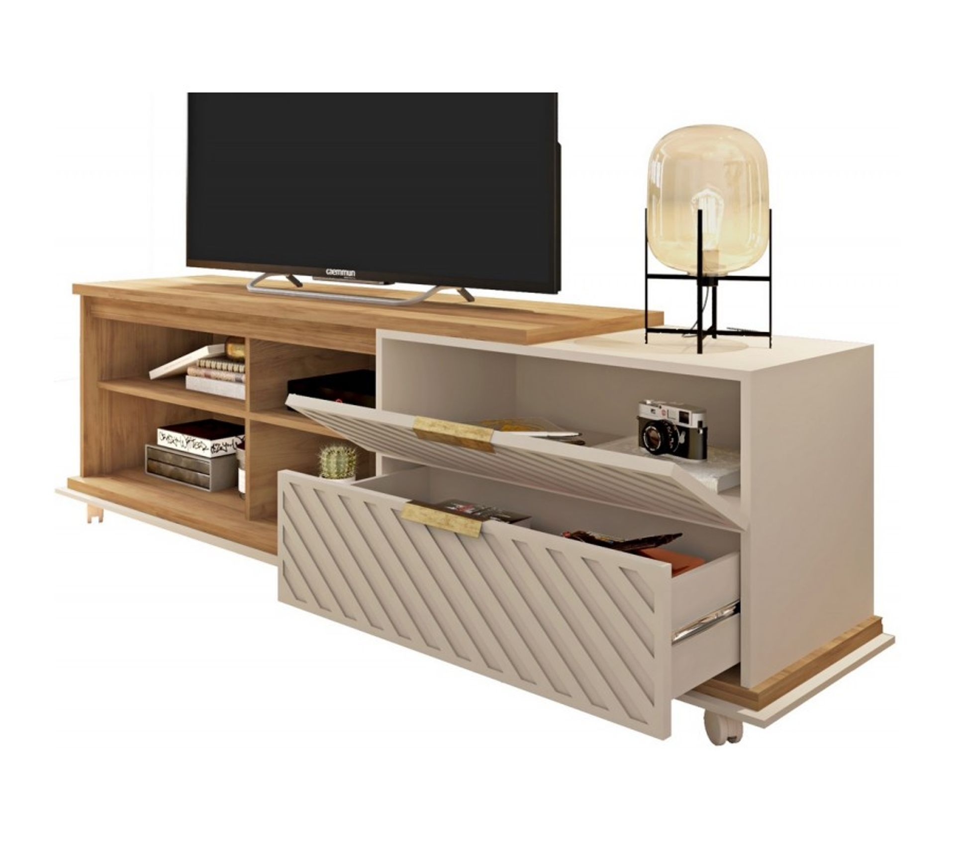 meuble tv 180 cm tv 65 pouces chene ecru