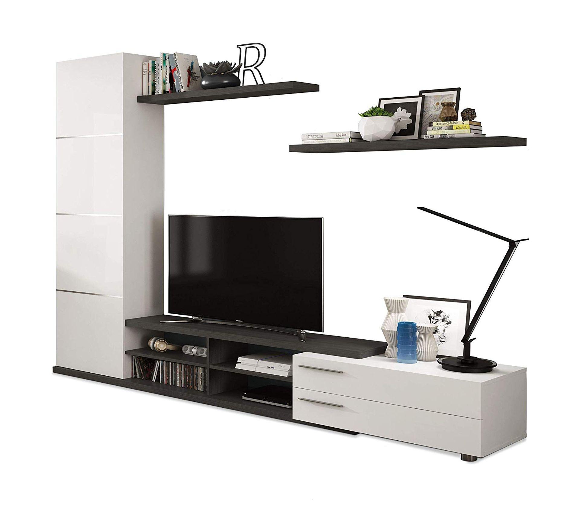 Meuble Tv Avec Bibliothèque meuble tv moderne avec colonne de rangement adhari cendre et blanc