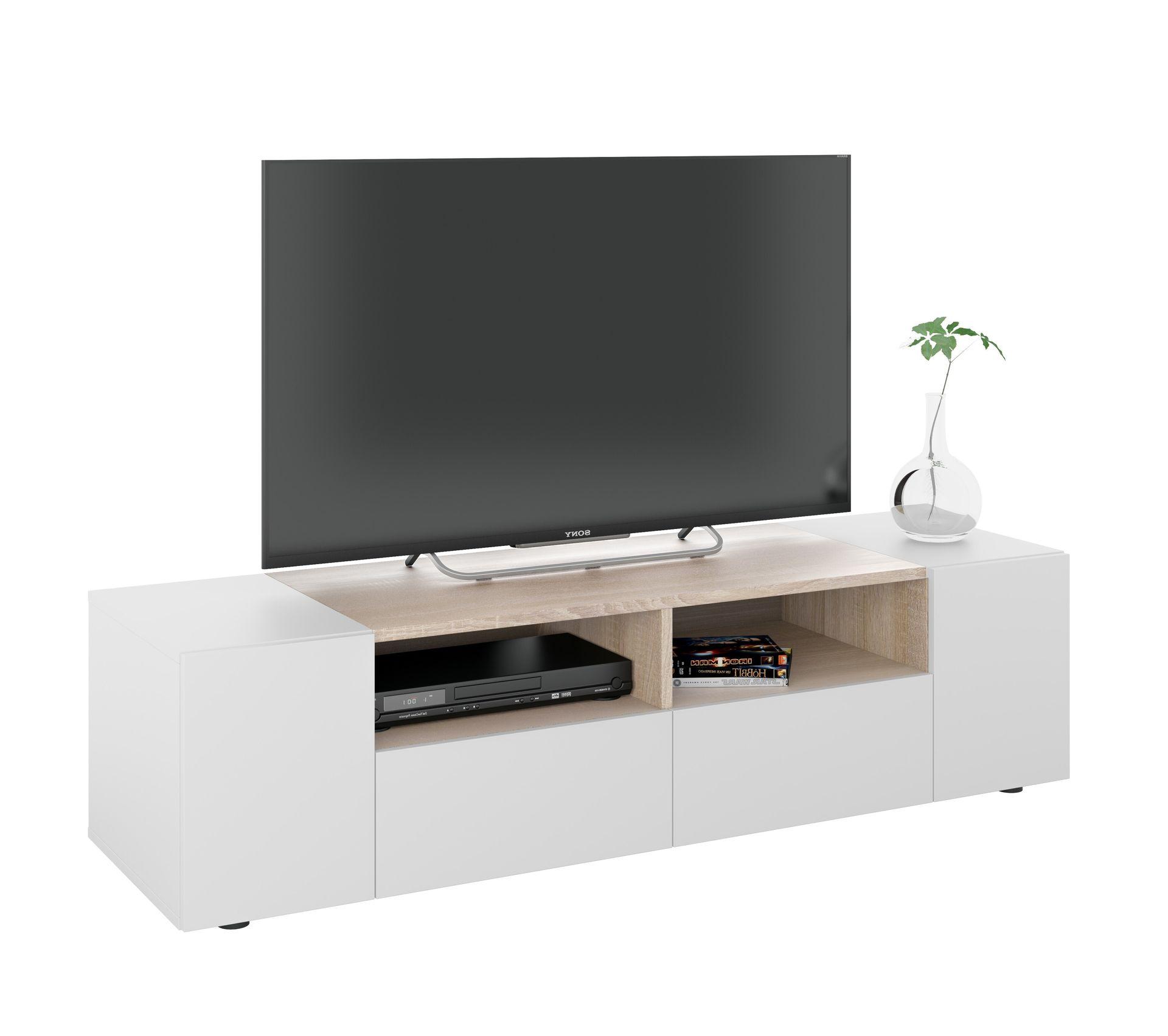 Meuble Tv Avec Barre De Son meuble tv contemporain tamio blanc et décor chêne - longueur 138 cm