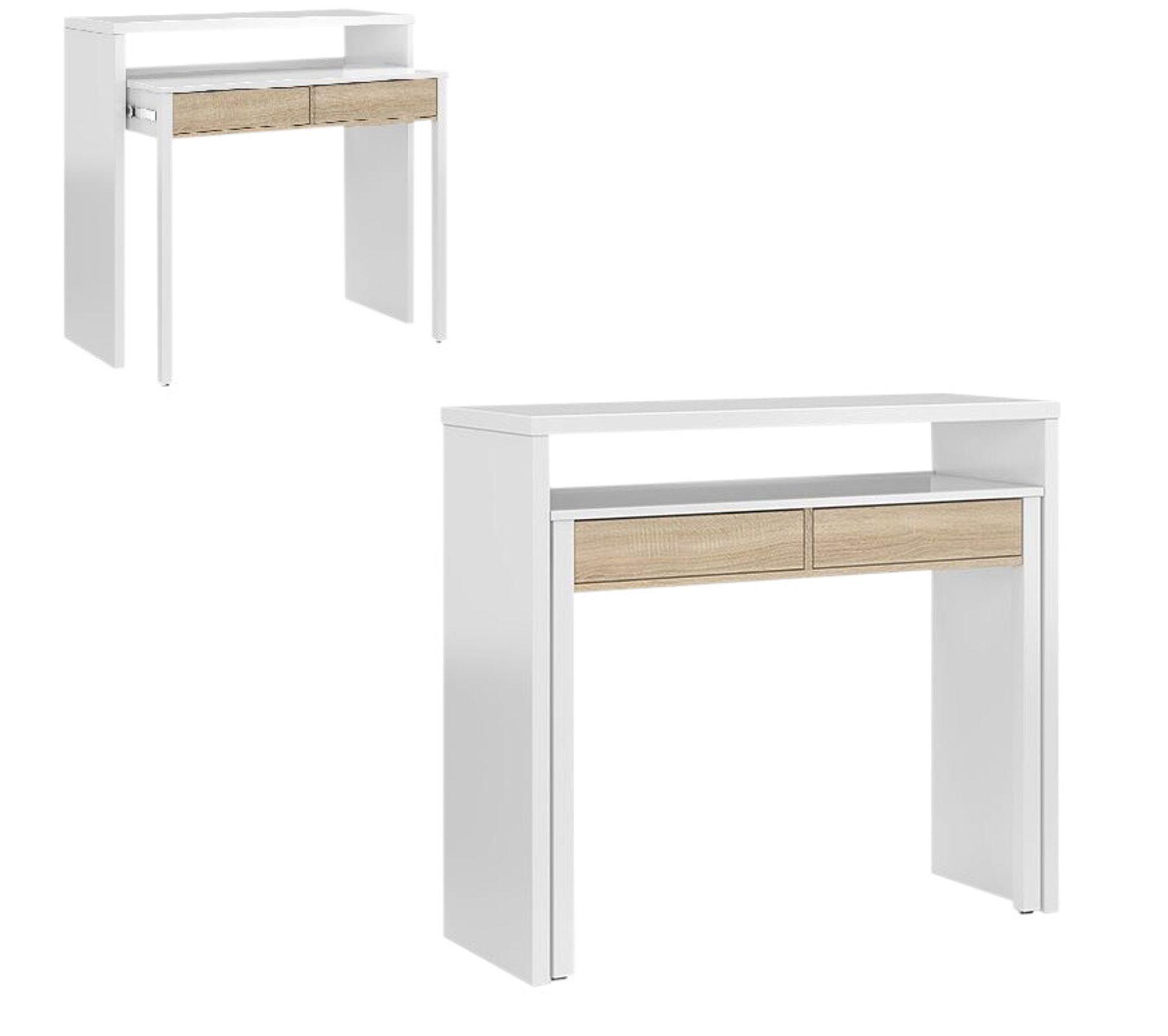 2 En 1 Console Bureau Pure Blanc Et Imitation Chene Table Console But