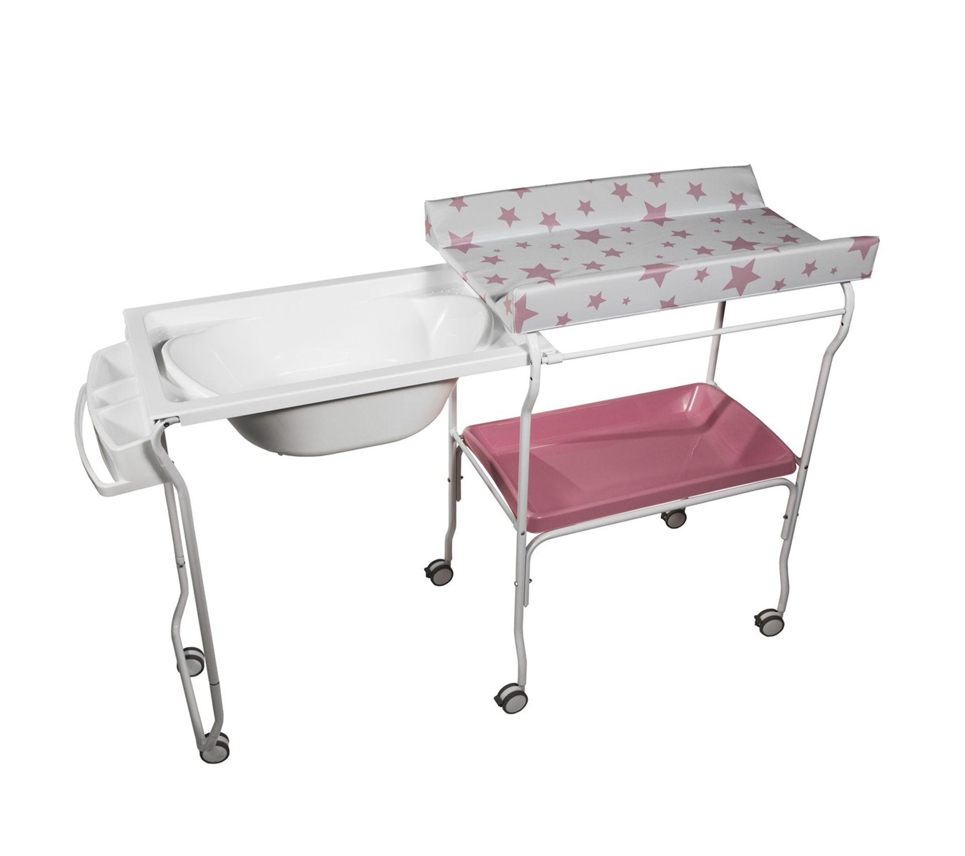 Mettre Des Roulettes Sous Une Table liv baignoire table À langer chariot sur roulettes rose motif Étoile
