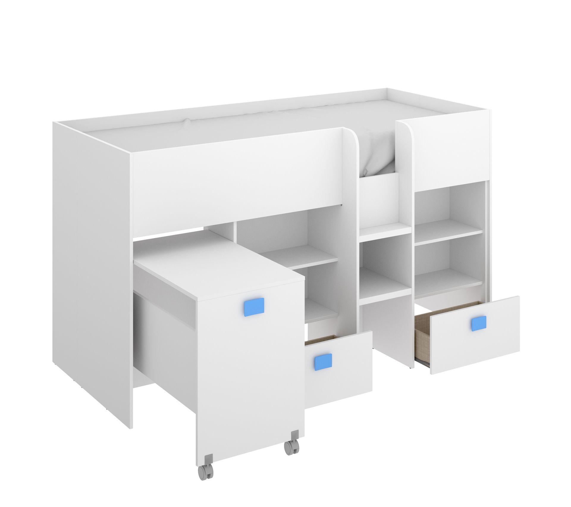 Le lit se transforme en lit dadolescent, bureau, armoire multifonction Lit b/éb/é /évolutif// combin/é Maxi Plus blanc//h/être Lorelli