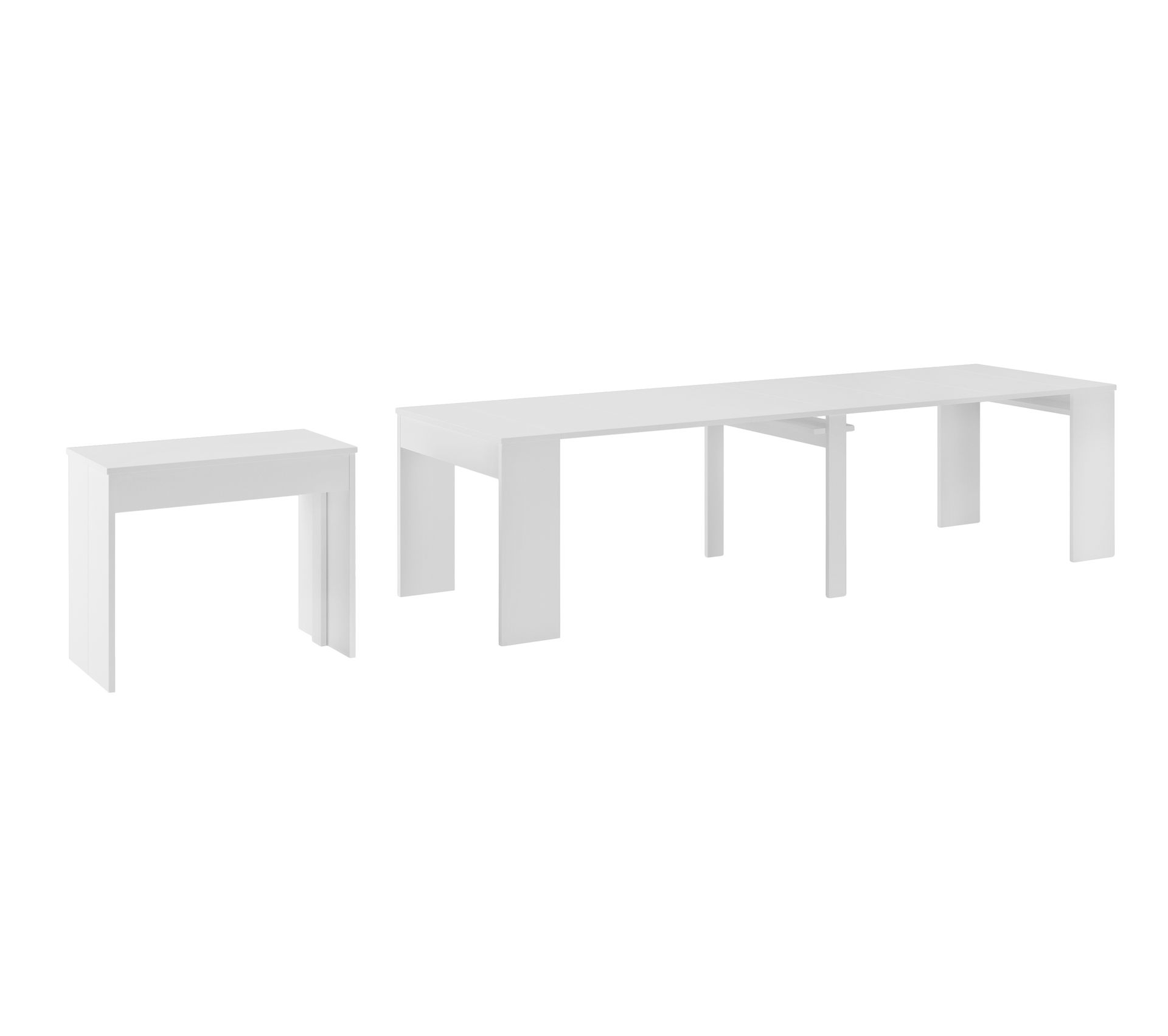 Console Extensible Avec Rallonges 300 Cm Blanc Table But