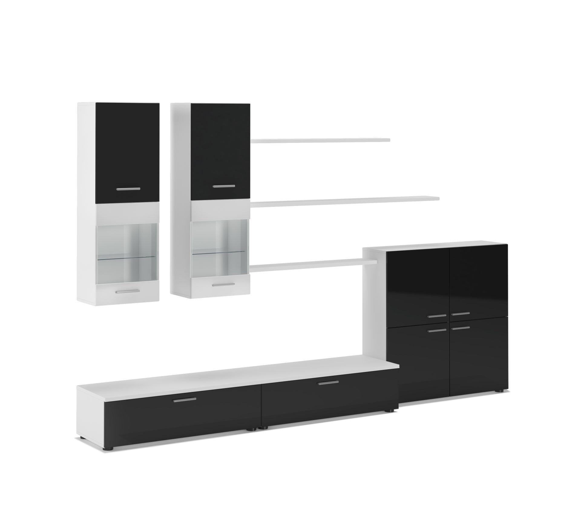 Objet Deco Laque Blanc meuble tv, ilumin. led, noir laqué/blanc mate