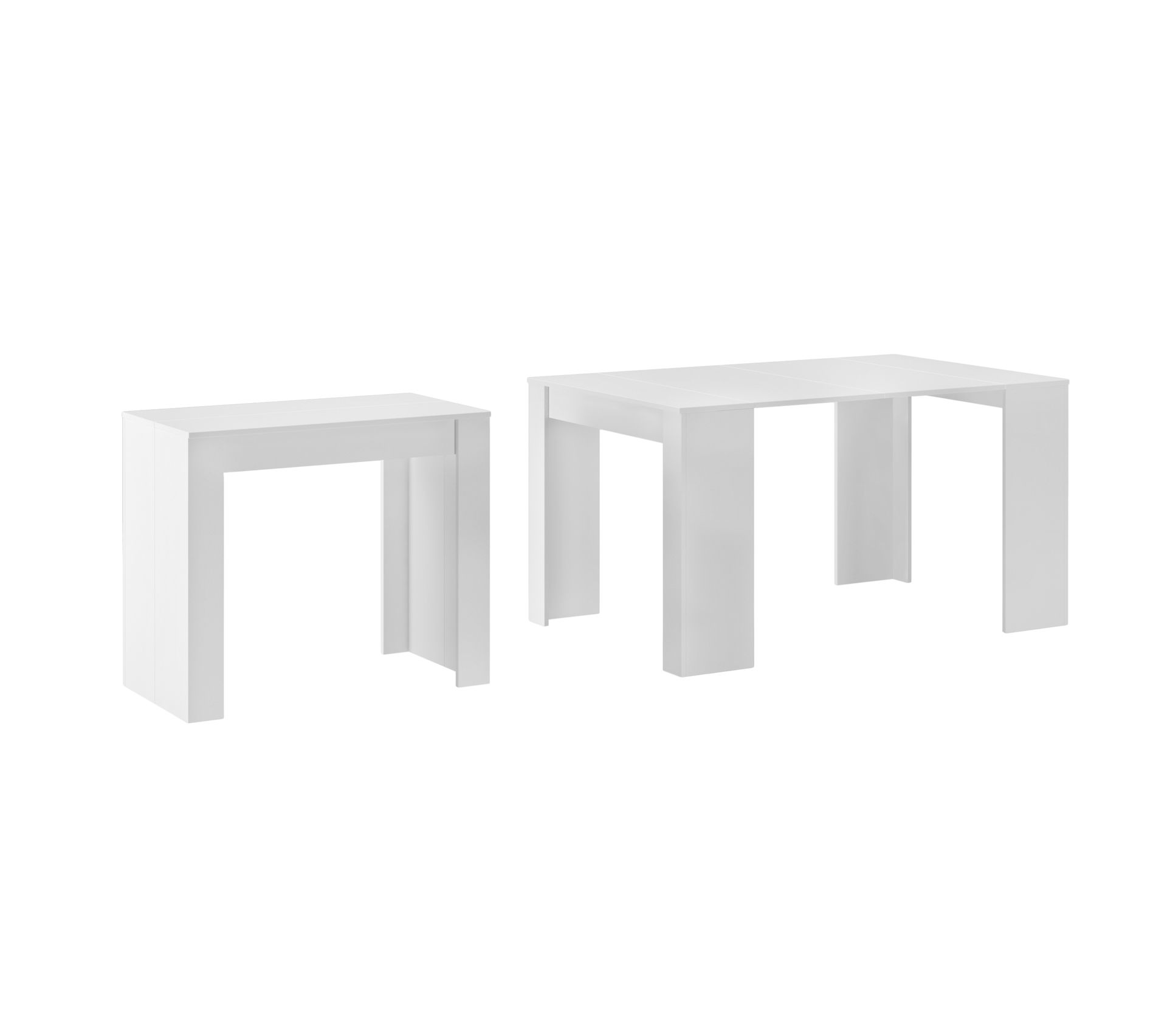 Console Extensible Avec Rallonges 140 Cm Blanc Brillant Table But