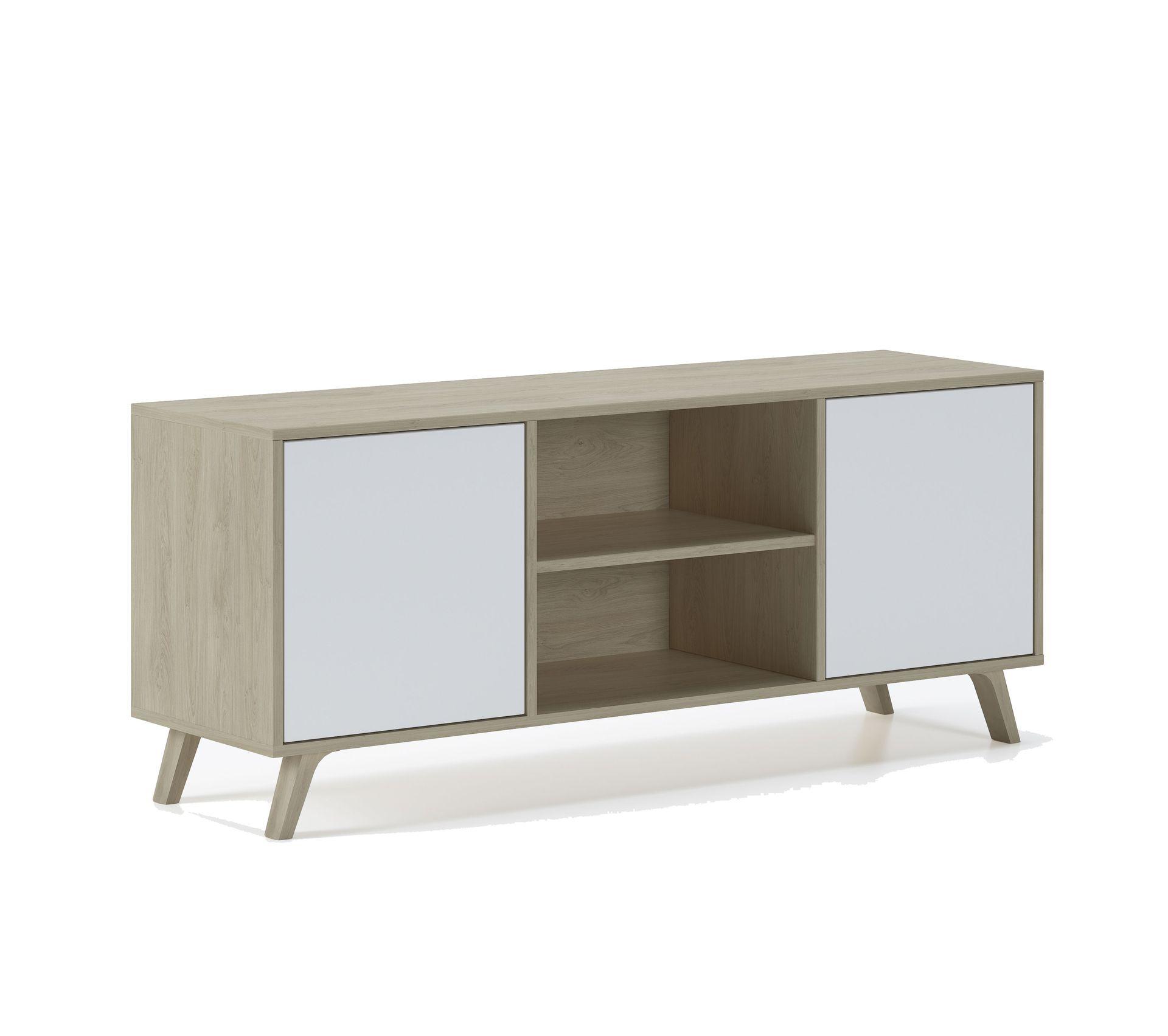 Meuble Tv Hifi Intégré meuble tv 140 2 portes,puccini et blanc
