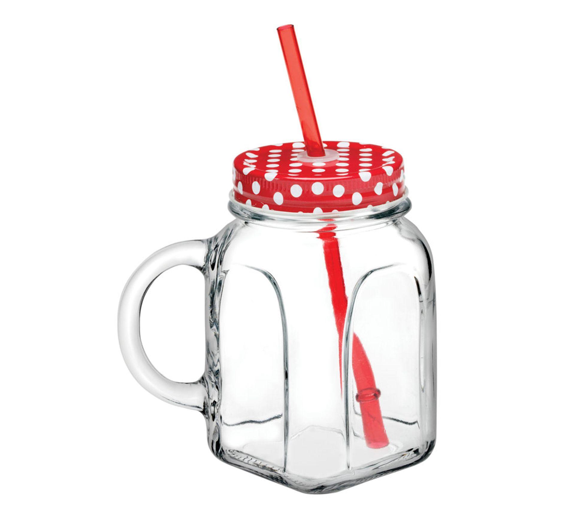 Paille De Fer Souris mug 45 cl avec couvercle en métal rouge + paille